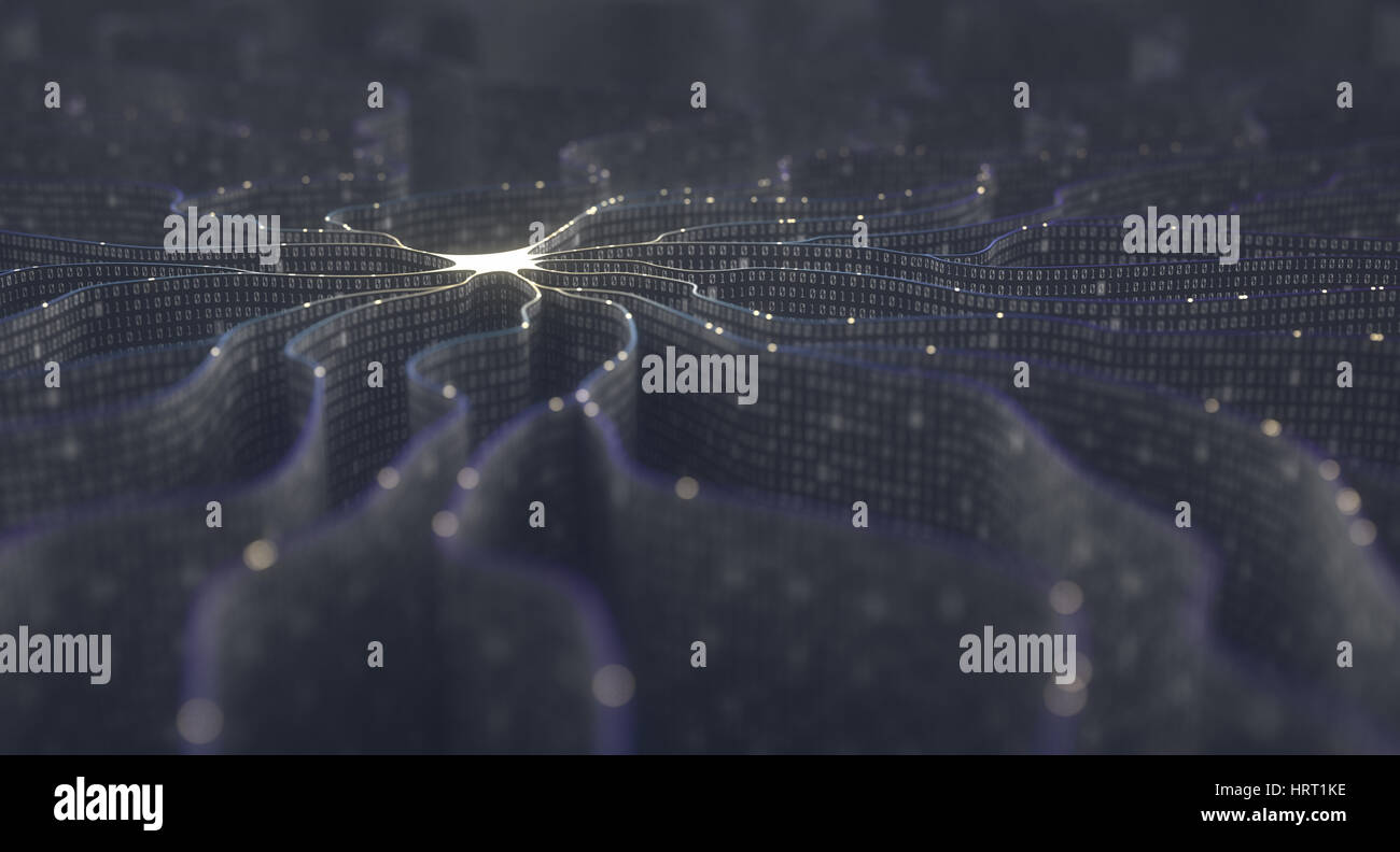Künstliches Neuron im Konzept der künstlichen Intelligenz. Wand-förmigen Binärcodes machen Übertragungsleitungen Stockfoto