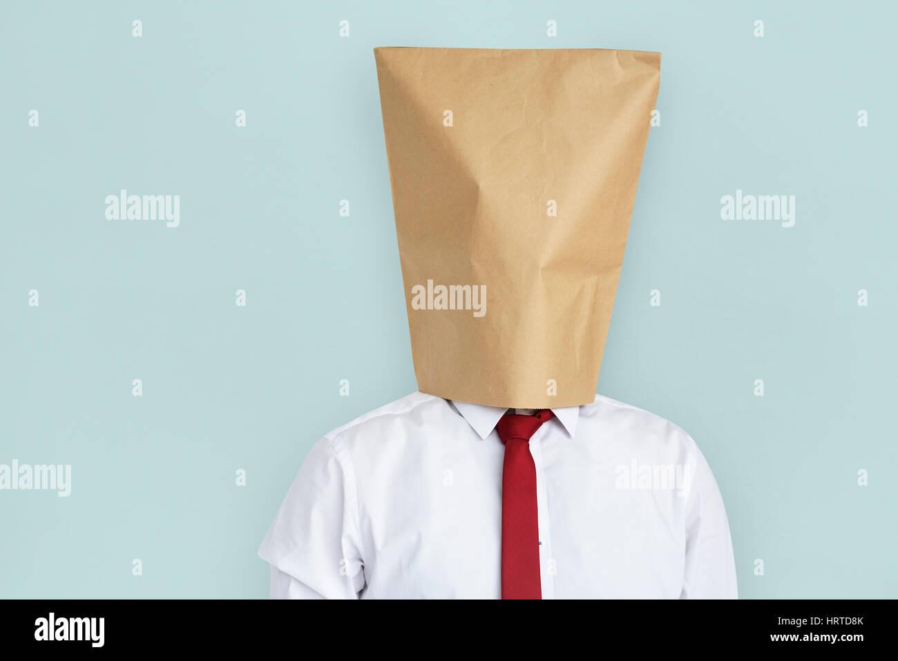 Mann Papier Tasche Cover Gesicht schämen Porträt Konzept Stockbild