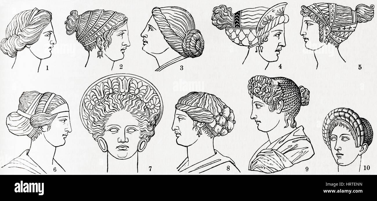 Nummern 1 Bis 8 Griechische Frisuren Nummern 9 Und 10 Romische