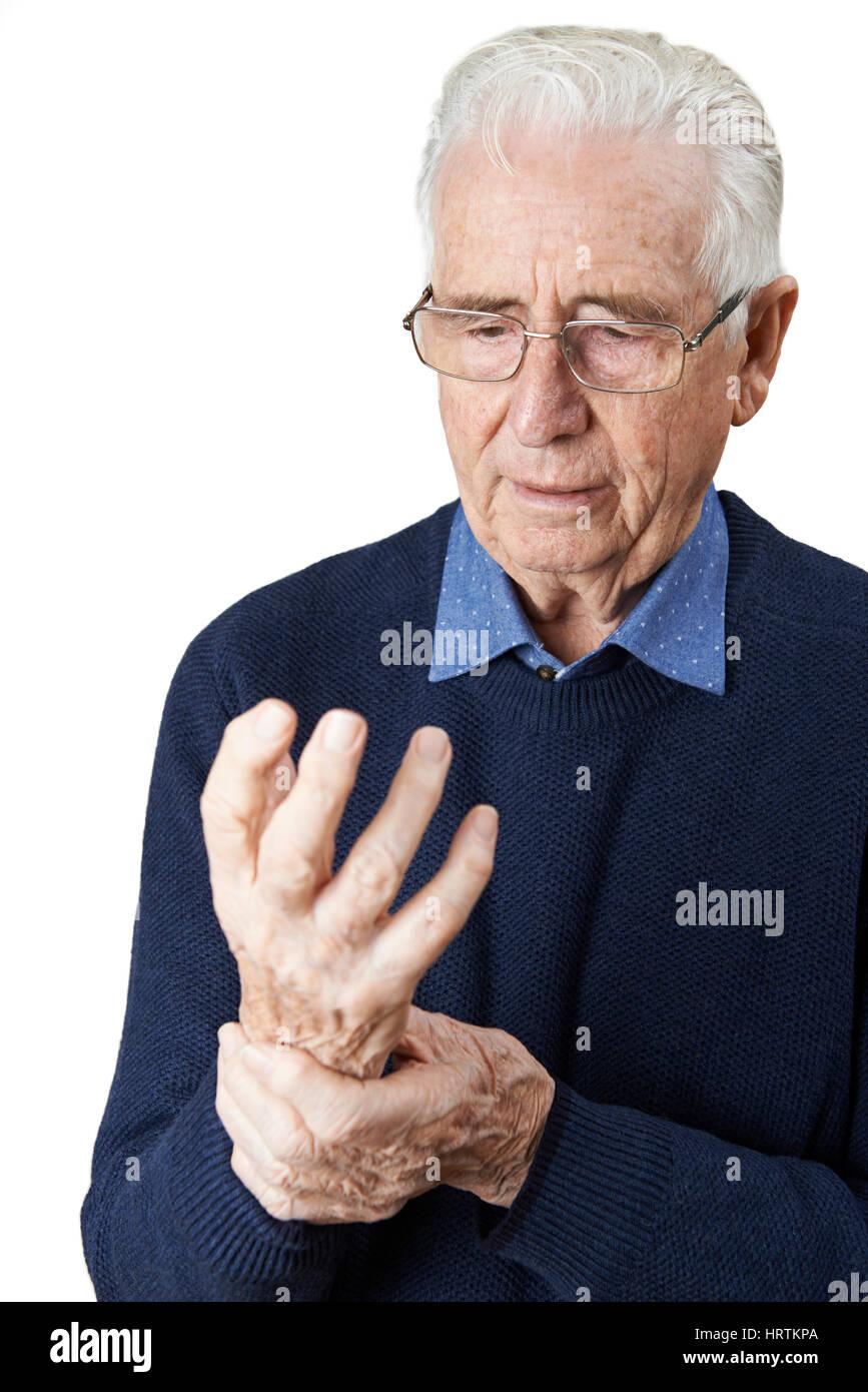 Ältere Menschen leiden mit Arthritis Stockbild