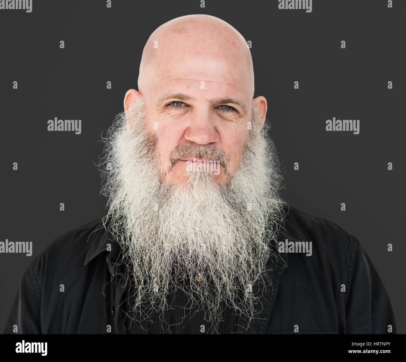 Männer Erwachsenen Langen Bart Glatze Nachdenklich Stockfoto Bild