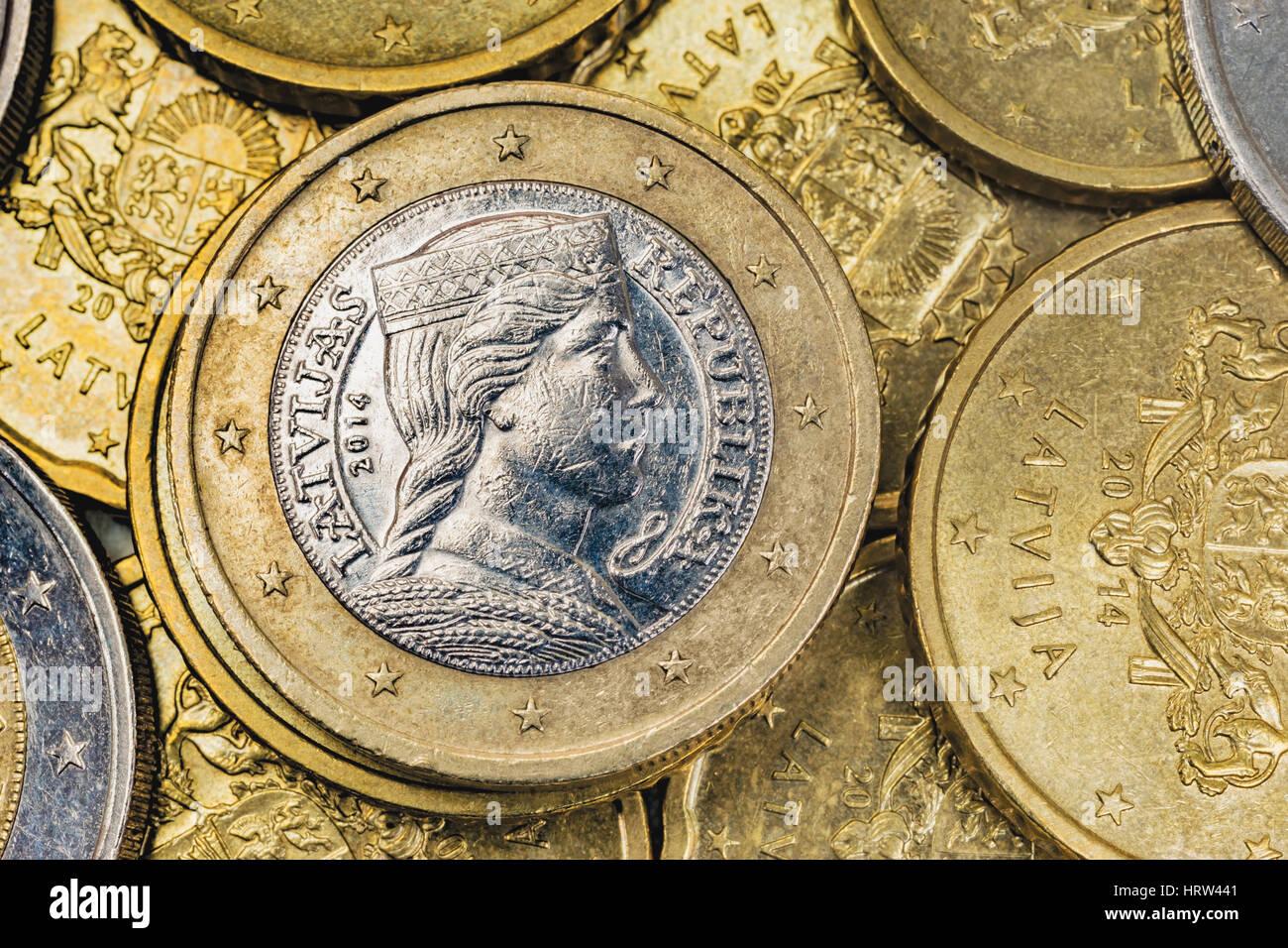 Viele Euro Münzen Aus Lettland An Der Spitze Ist Eine 1 Euro Münze