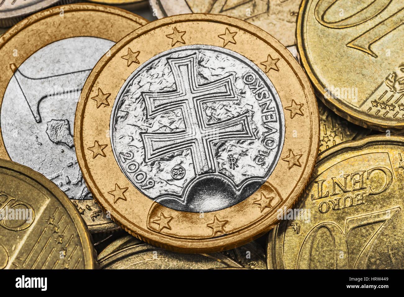Viele Euro Münzen An Der Spitze Ist Eine 1 Euro Münze Aus Der
