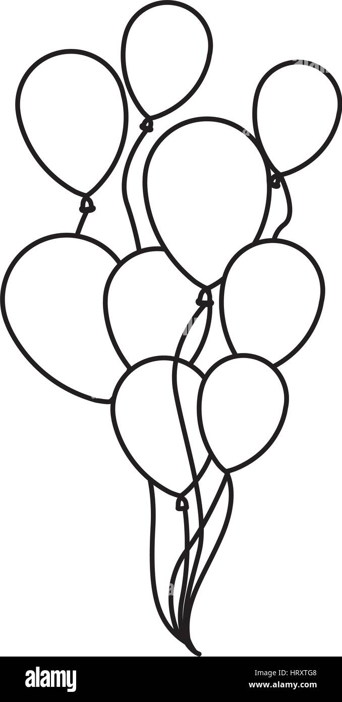balloon-bunch-bw.png 432×781 pixels   Coloring pages, Birthday card  drawing, Balloons