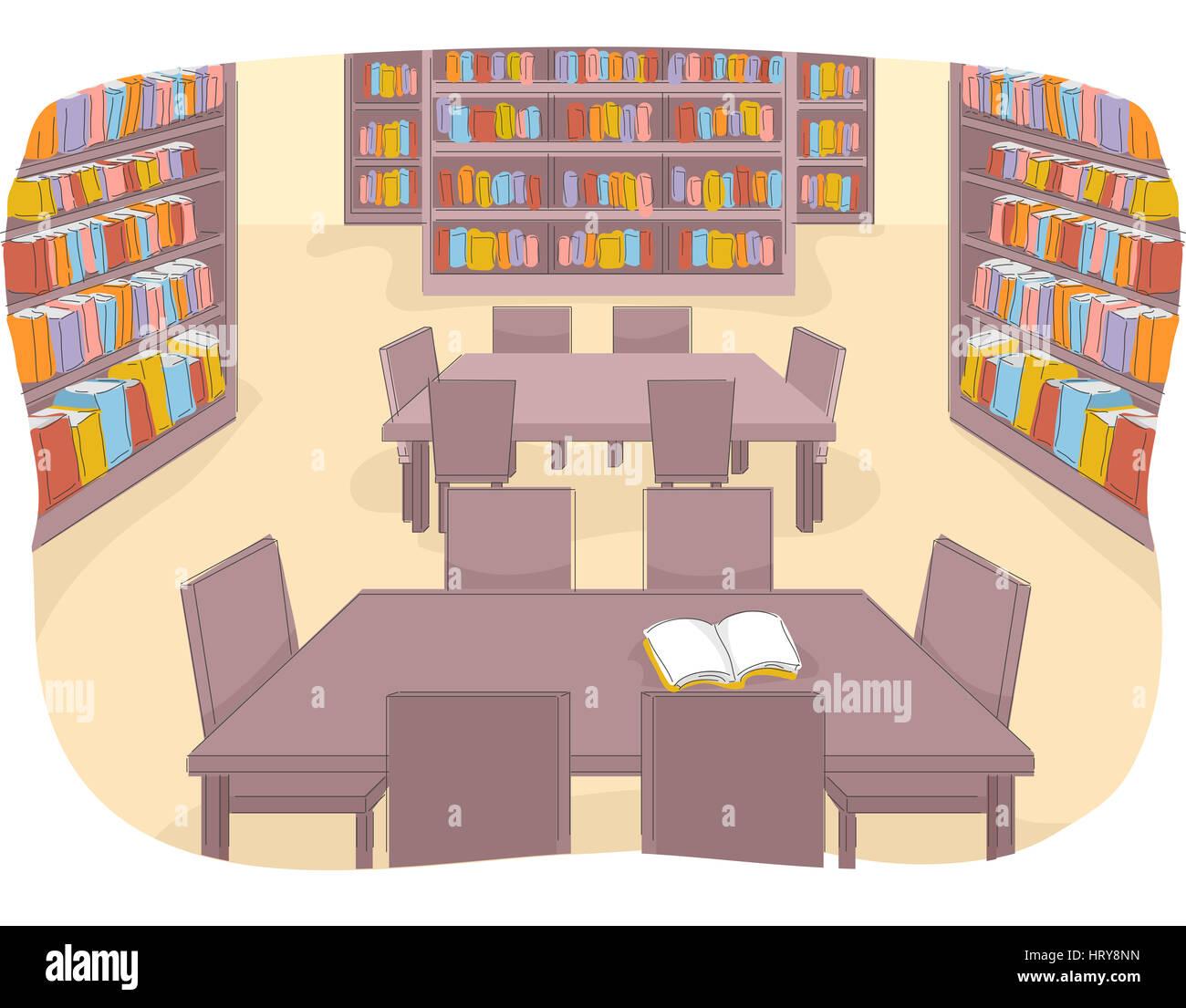 Beispiel Fur Eine Gut Bestuckte Bibliothek Ist Derzeit Nicht Verwendet Wird Stockbild