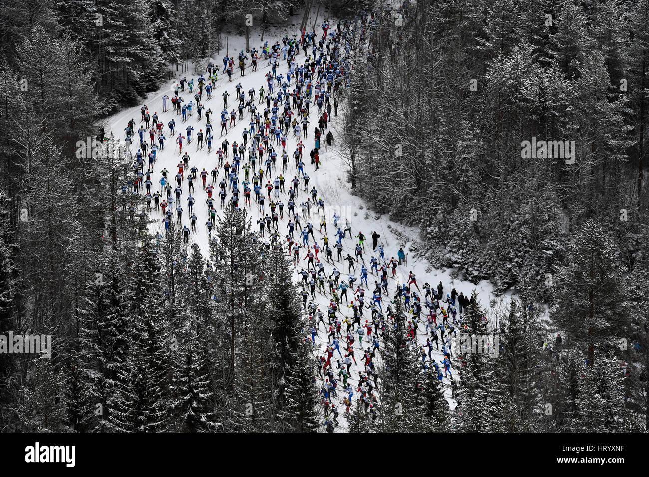 Stockholm. 6. März 2017. Die lange Strecke Langlauf Ski Wettbewerb Vasloppet in der Region Dalarna Mittelschweden, Stockfoto