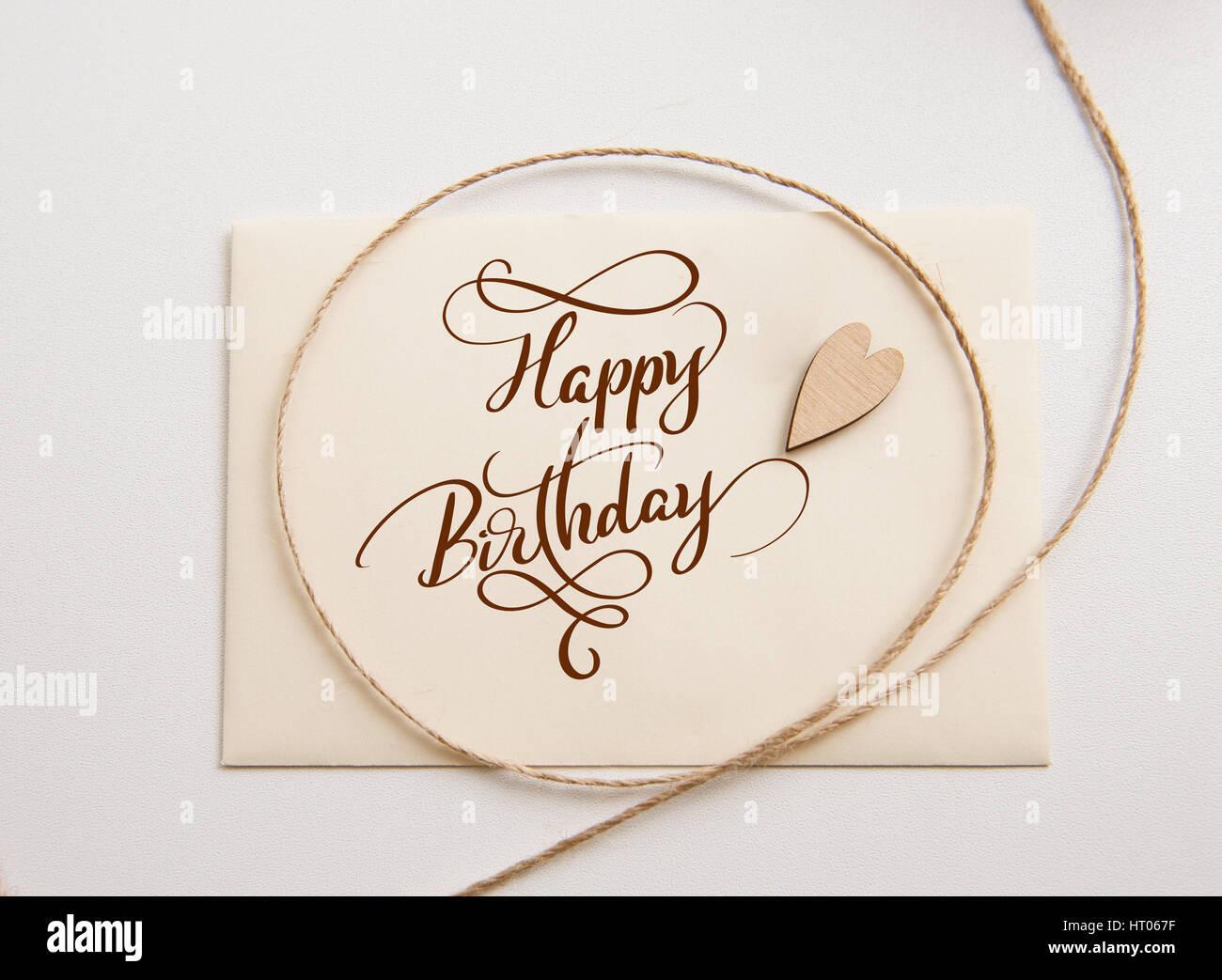 Valentinstag Karte Mit Herz Aus Holz Und Text Alles Gute Zum Geburtstag.  Kalligraphie Schriftzug