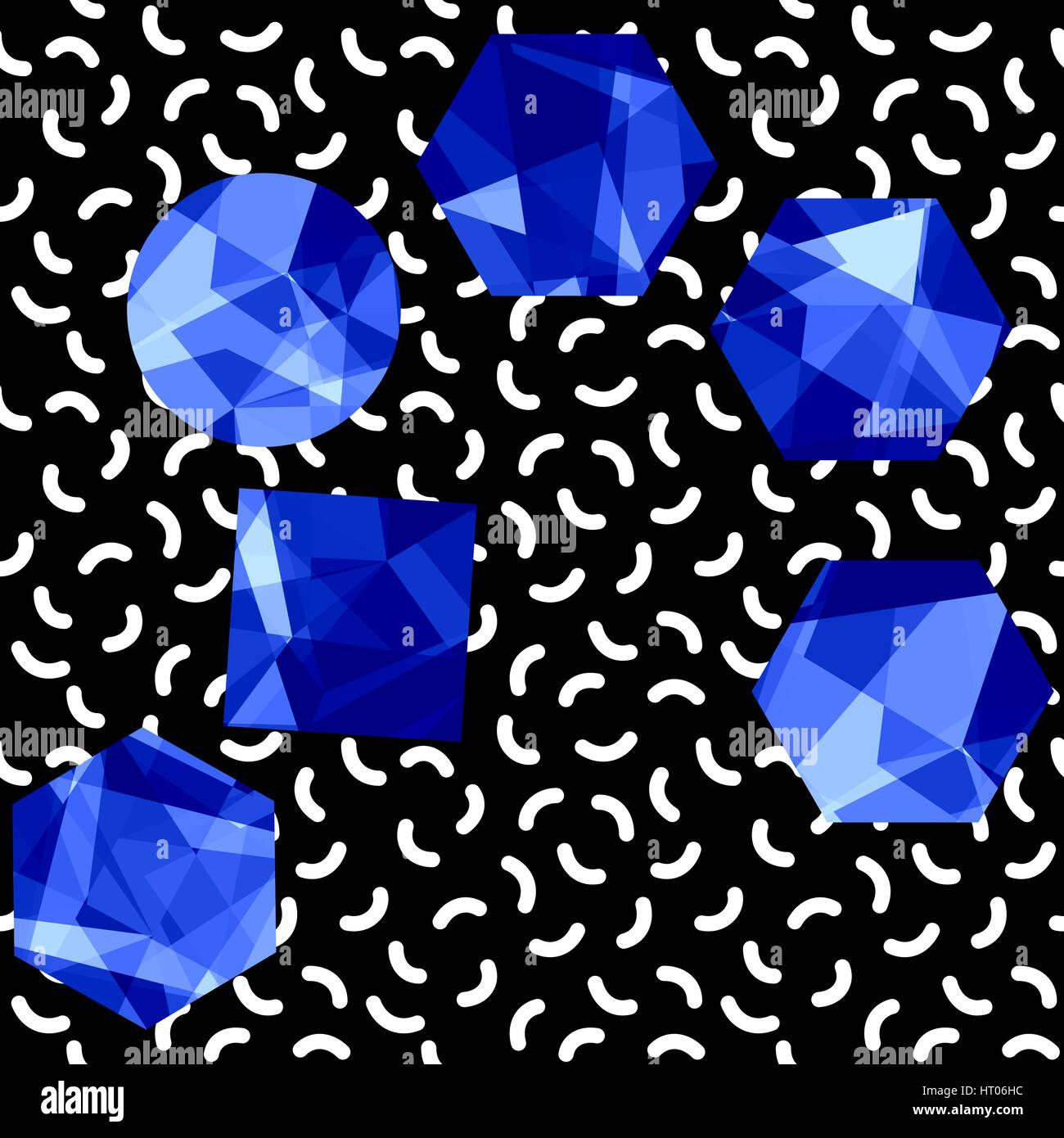Abstrakte Musterdesign Edelsteine. Bunte Juwelen über Memphis Style ...