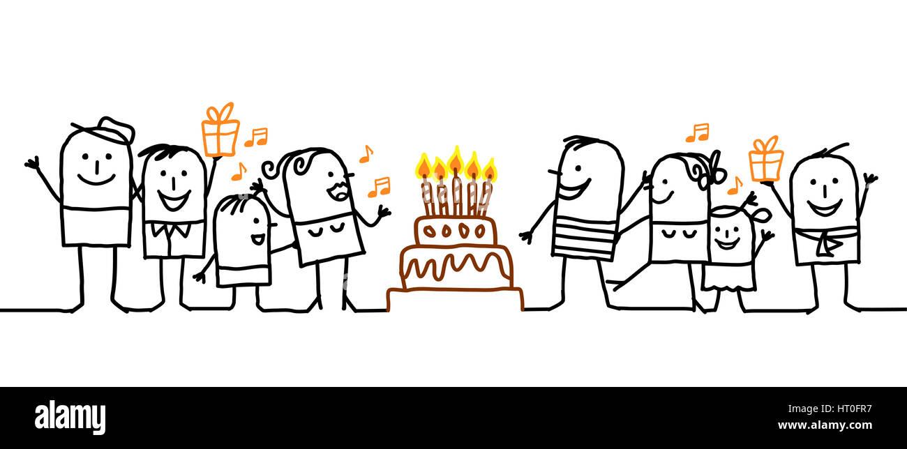 Cartoon Menschen Alles Gute Zum Geburtstag Stockfoto Bild