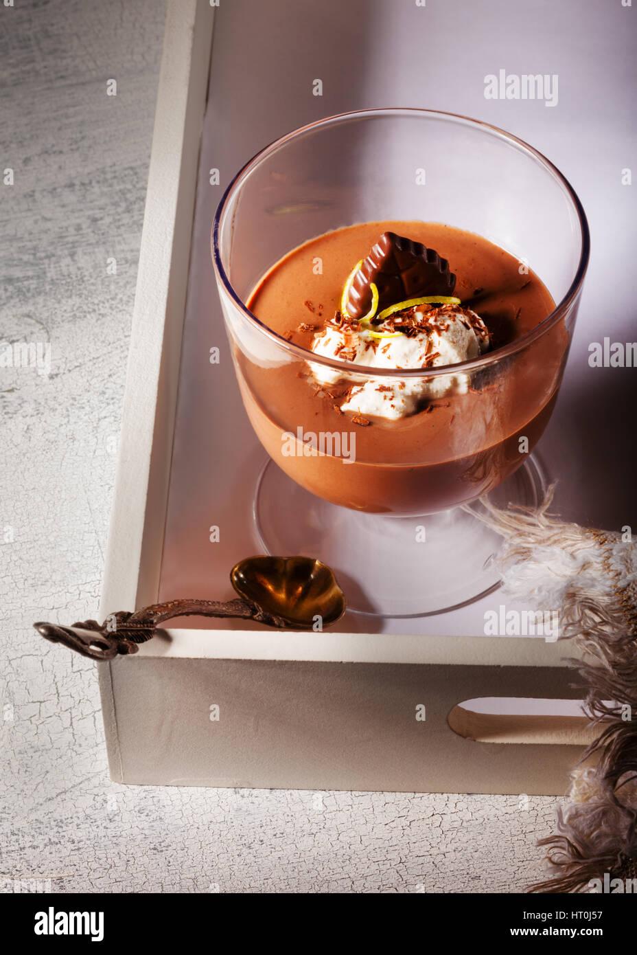 Schokoladen-Mousse Dessert Stockfoto