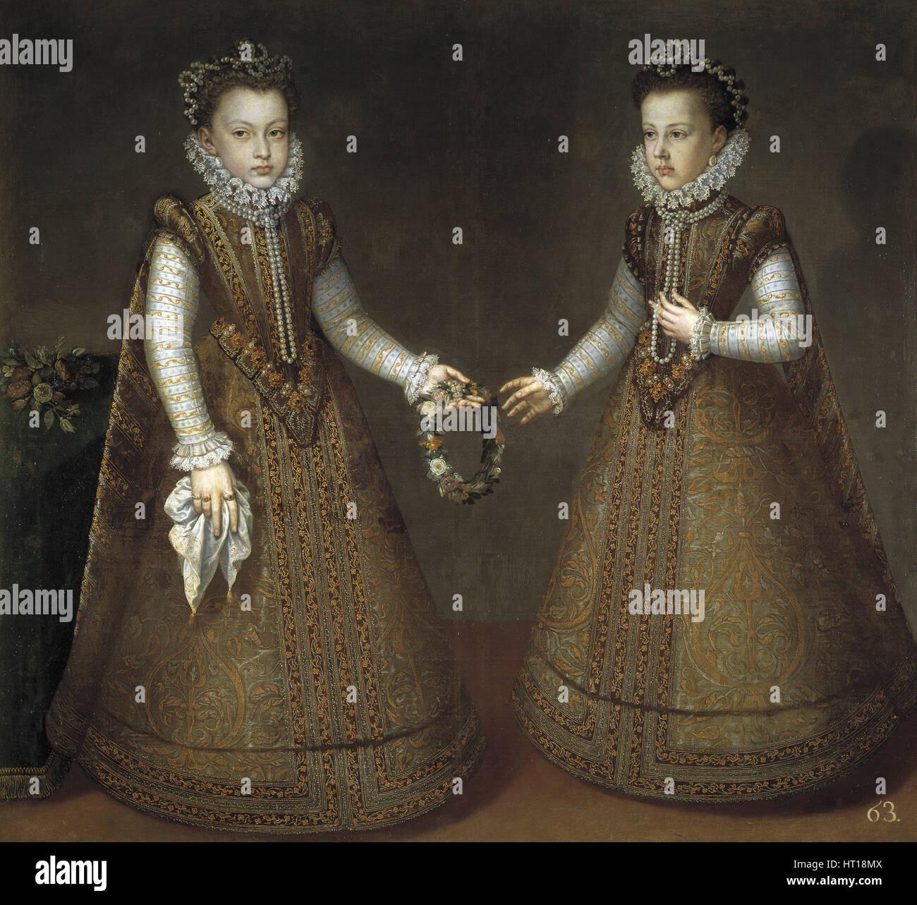 Die Infantinnen Isabel Clara Eugenia (1566-1633) und Catherine Michelle von Spanien (1567-1597), ca. 1575. Künstler: Stockbild