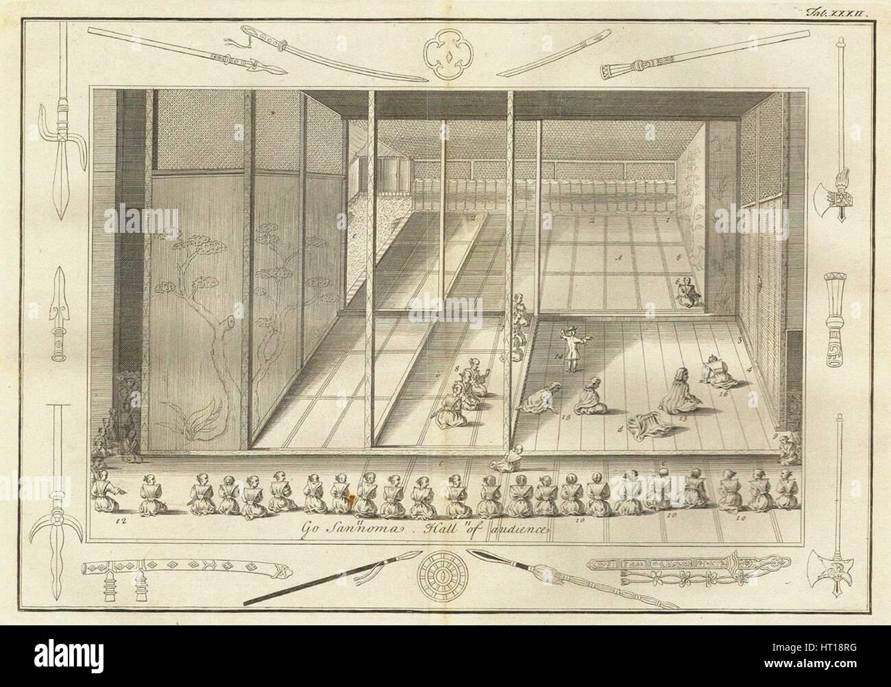 Die Halle des Publikums der niederländischen Botschafter. (Aus der Geschichte Japans von Engelbert Kaempfer) Stockbild