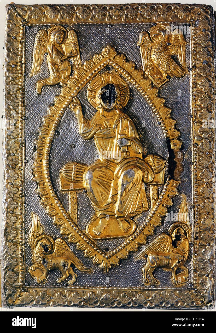 Die Evangelien Buch von Matilda von Canossa, 11. Jahrhundert. Künstler: West Europa angewandte Kunst Stockbild