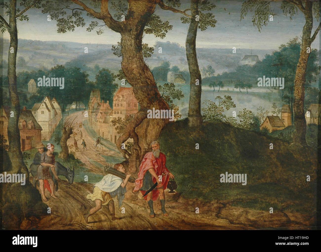 Landschaft mit Abraham und Isaak, Mitte des 17. Jahrhunderts. Künstler: Grimmer, Jacob (ca. 1525-1590) Stockbild
