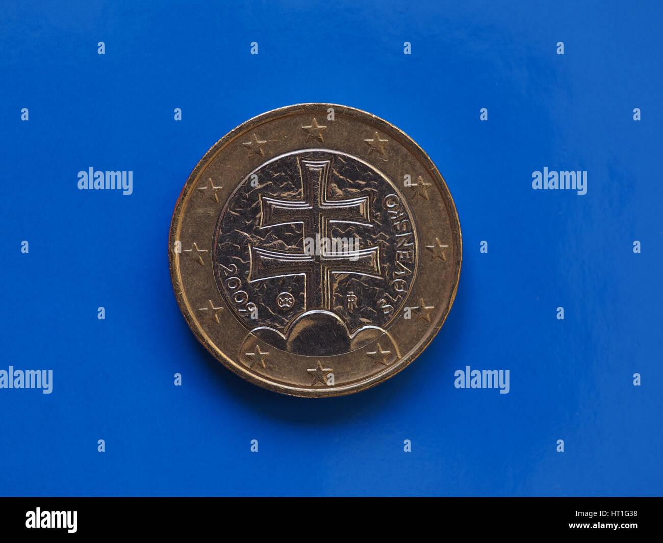 1 Euro Münze Geld Eur Währung Der Europäischen Union Slowakei Auf