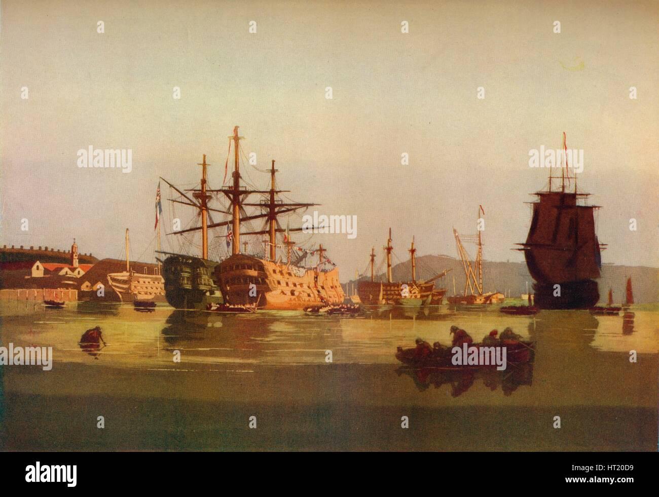 """""""HMS Revenge und Französisch Preis Hulk"""" c1850. (1930). Künstler: Geoffrey Sneyd Garnier. Stockbild"""