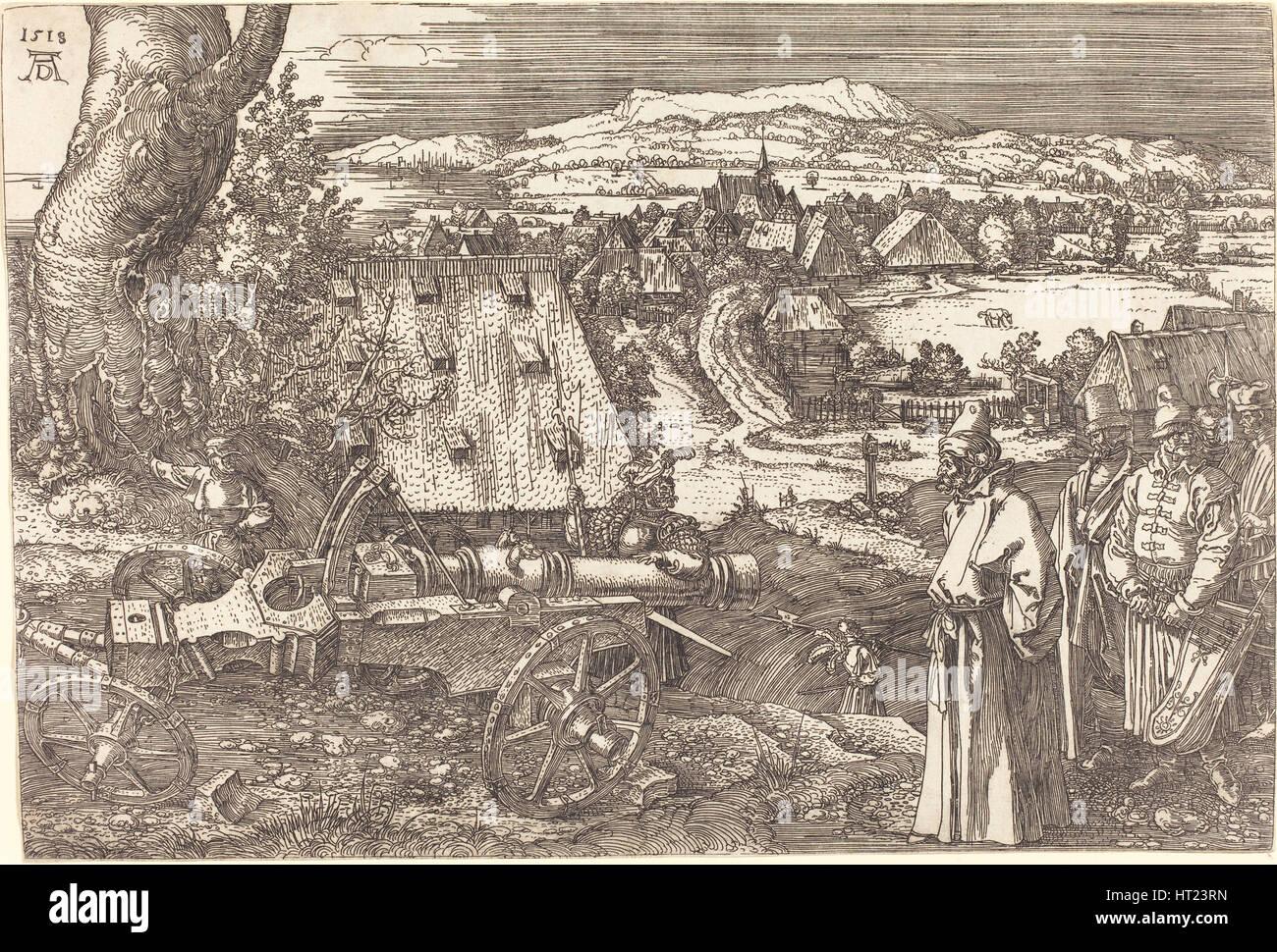 Landschaft mit einer Kanone, 1518. Künstler: Dürer, Albrecht (1471-1528) Stockbild