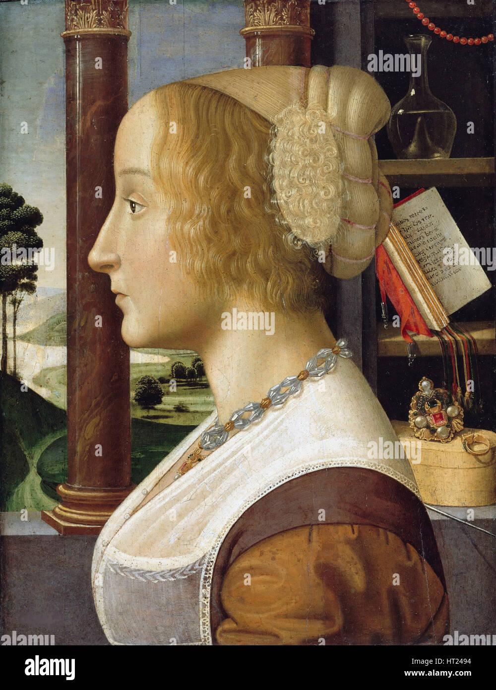 Profilbildnis einer jungen Frau. Künstler: Ghirlandaio, Davide (1452-1525) Stockbild