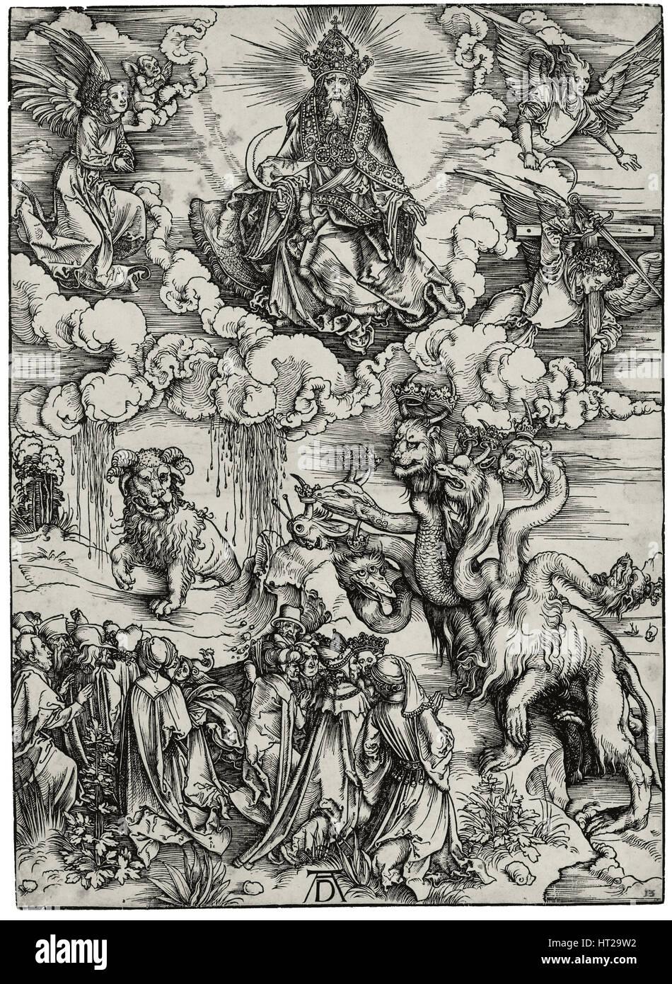 Das Tier mit zwei Hörner wie ein Lamm, c. 1497. Künstler: Dürer, Albrecht (1471-1528)Stockfoto
