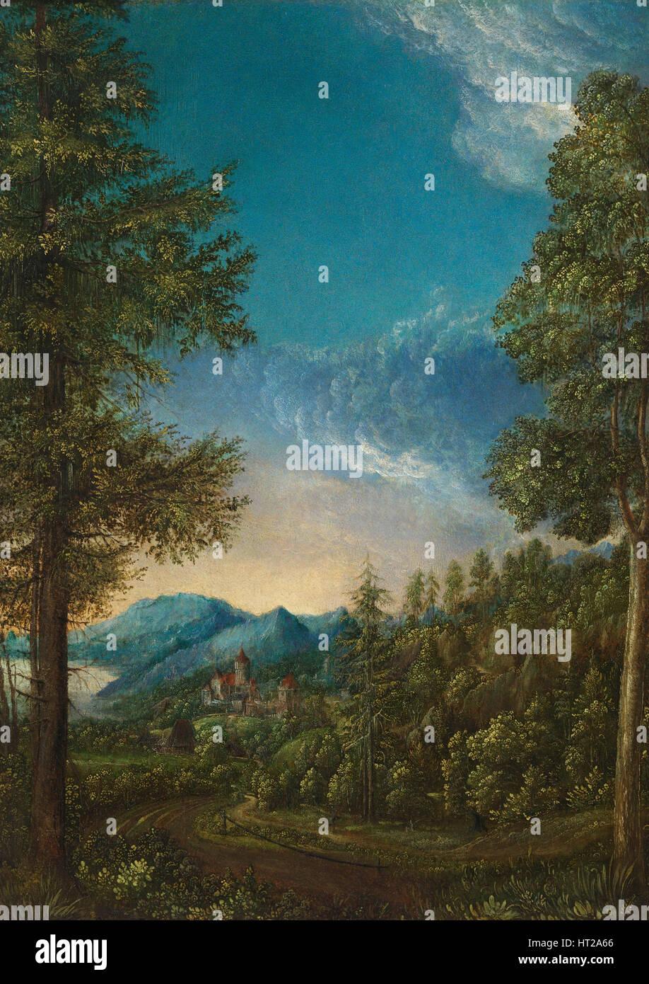 Landschaft mit Burg, c. 1525. Künstler: Altdorfer, Albrecht (c. 1480-1538) Stockbild