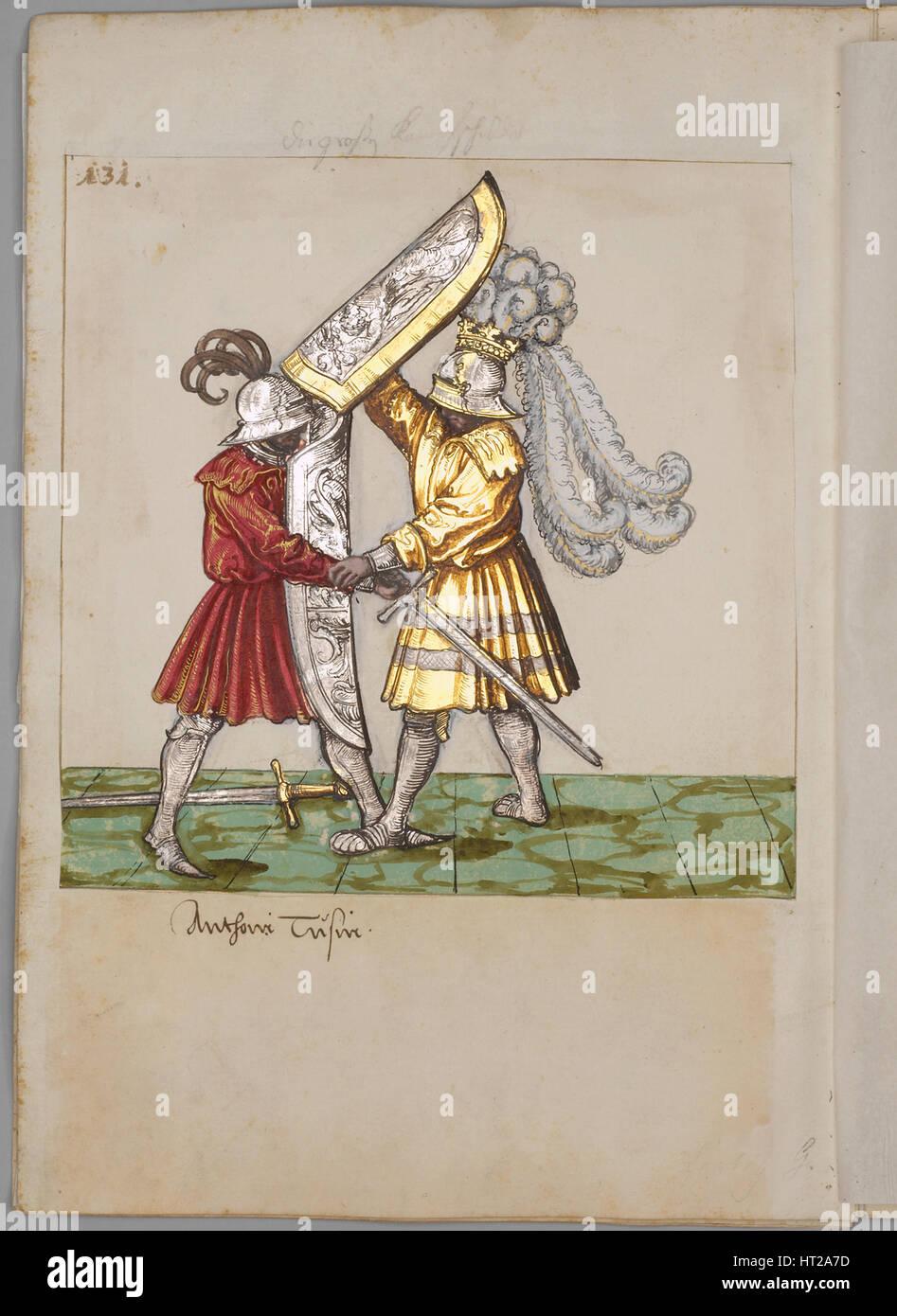Abbildung aus dem Turnier-Buch von Kaiser Maximilian i., 1512-1515. Künstler: Süd deutscher Meister (16. Stockbild