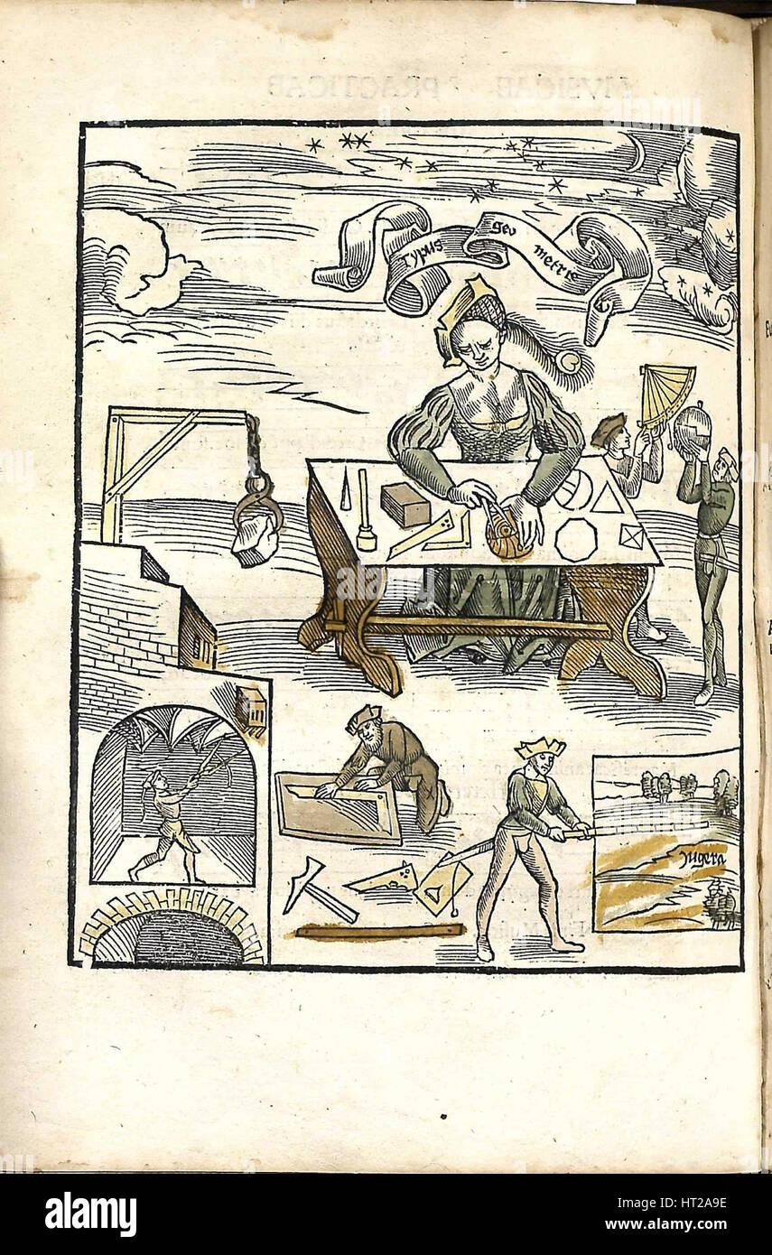 Margarita gedemütigt. Geometrie, 1504. Künstler: Reisch, Gregor (1467-1525) Stockbild