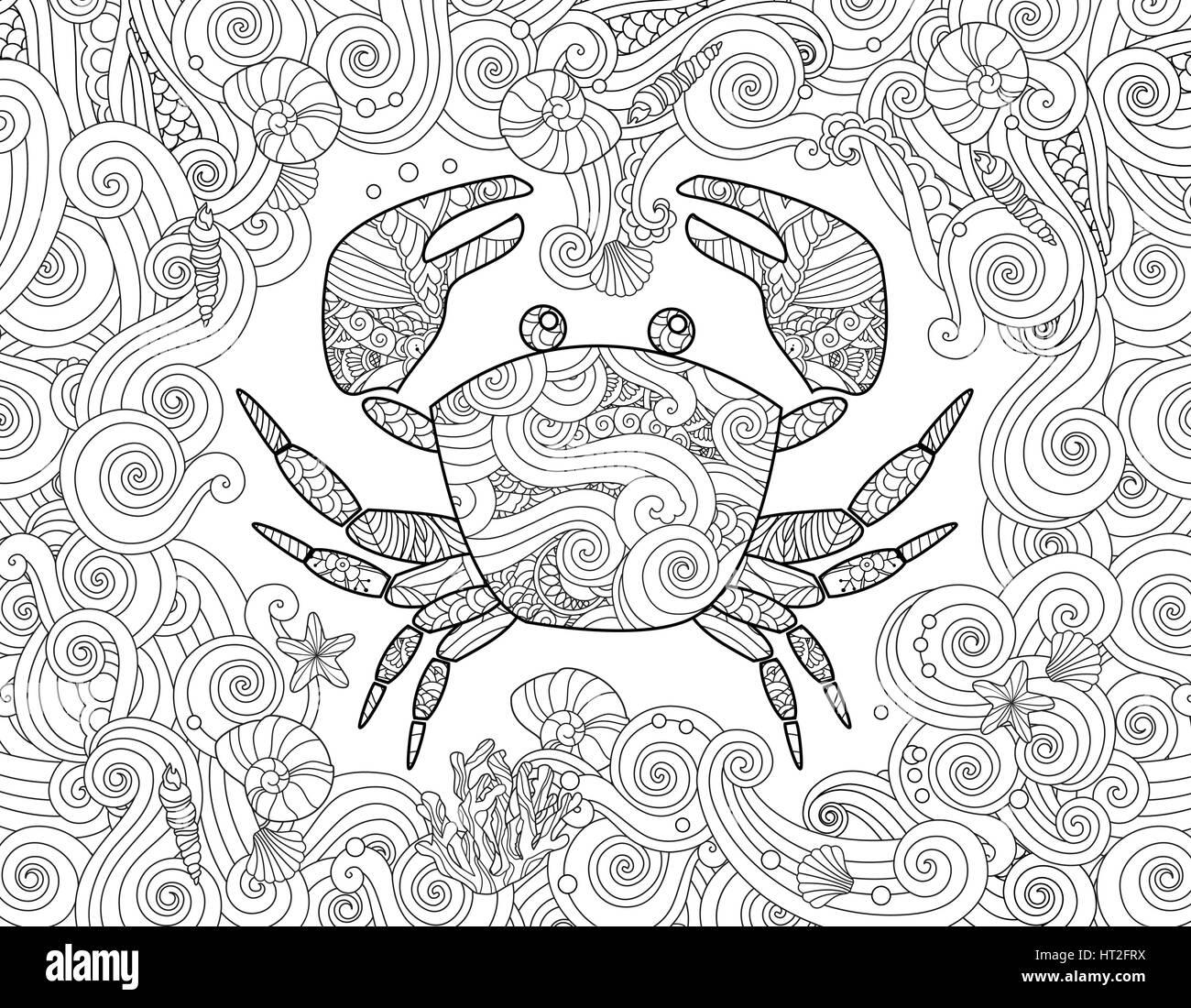 Malvorlagen. Reich verzierte Krabben und Meer Welle Curl Hintergrund ...