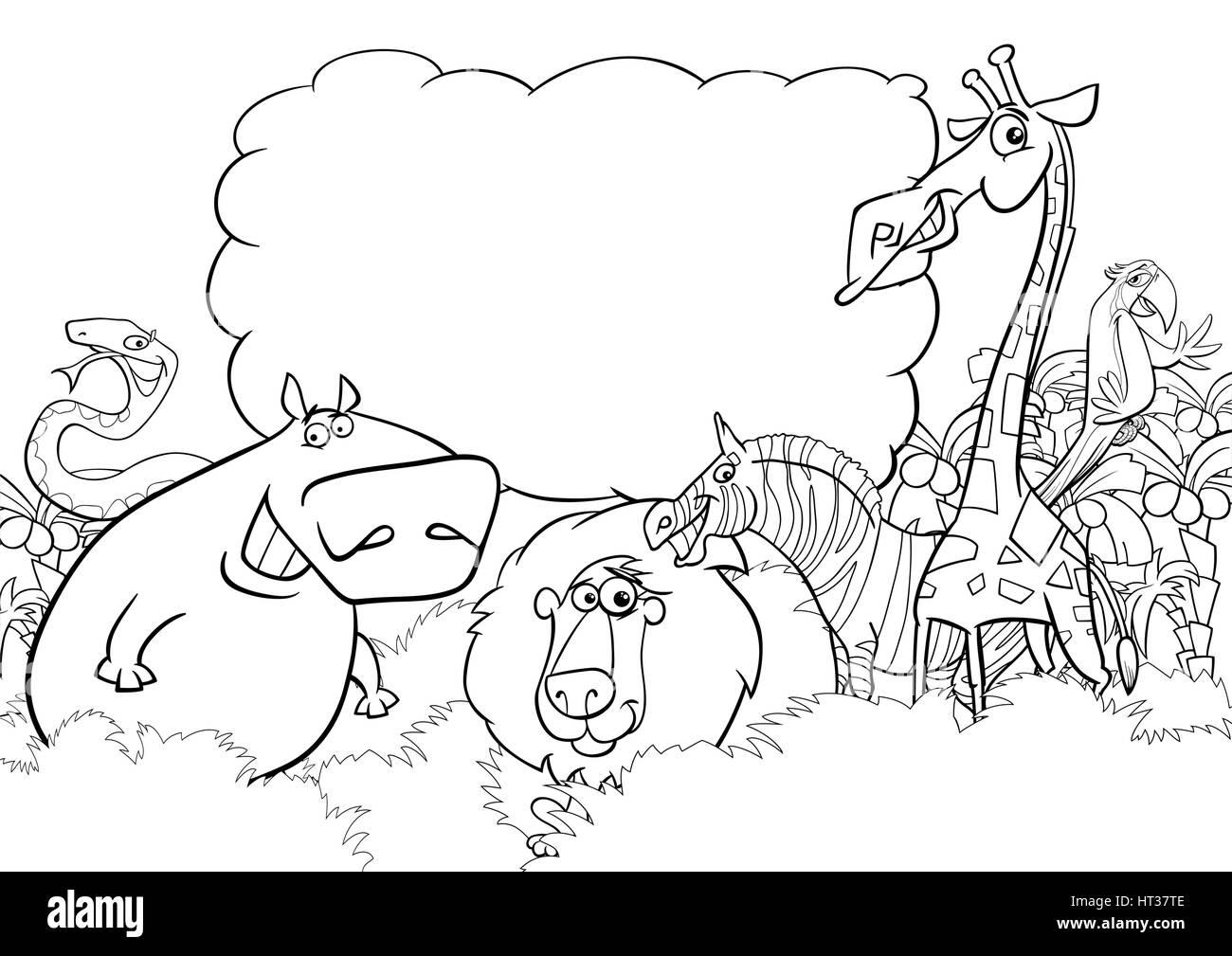 Schwarz Weiß Cartoon Illustration Des Wilden Tier Zeichen Mit