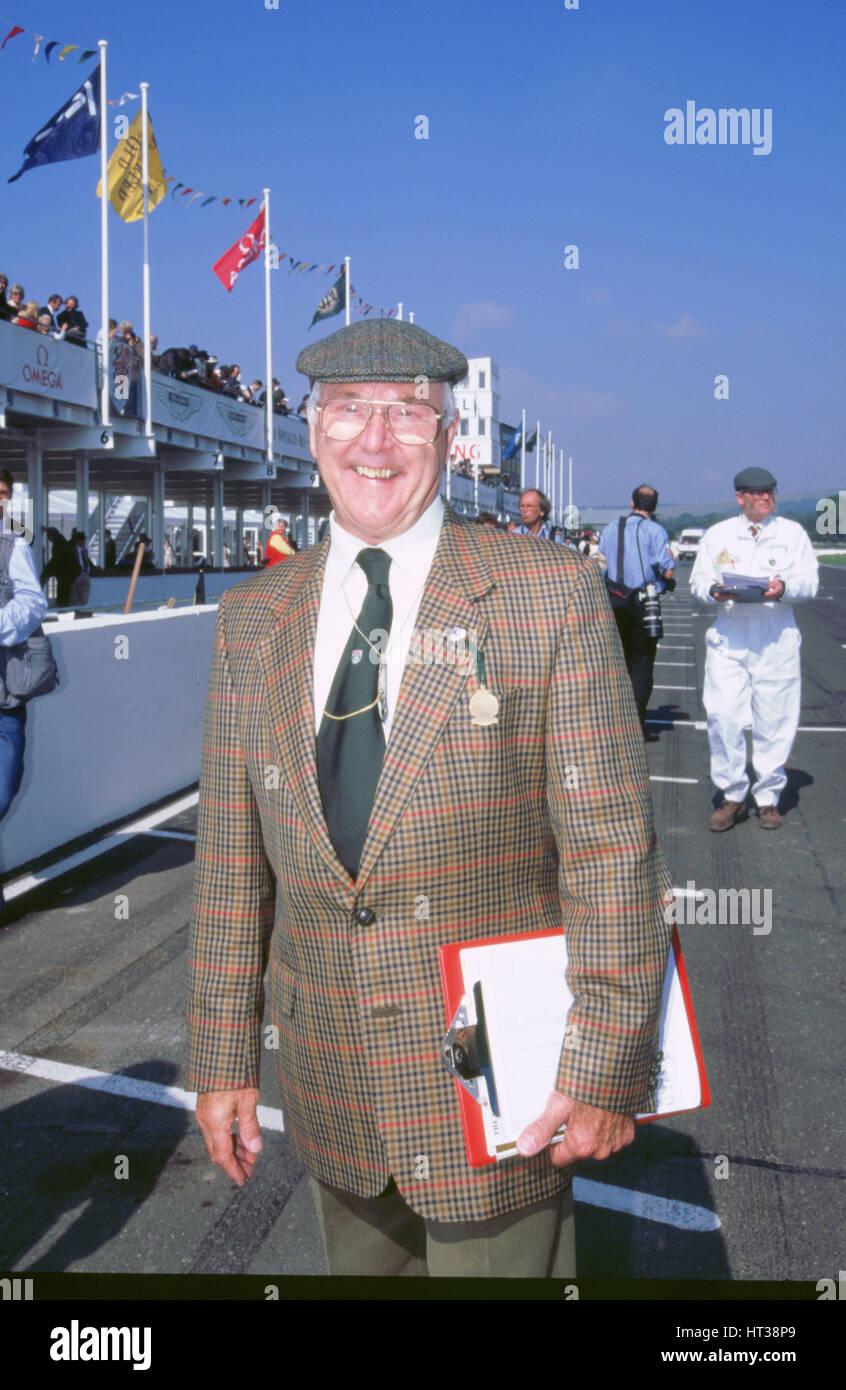 Kommentator Murray Walker 1998 beim Goodwood Revival. Künstler: unbekannt. Stockbild