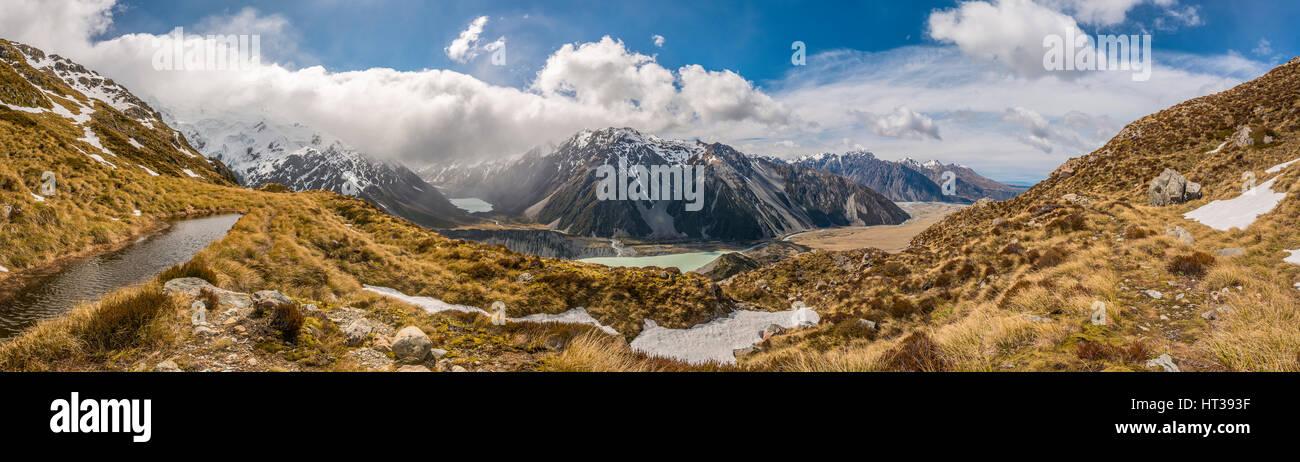 Blick auf Hooker Valley, Bergsee, Sealy Gebirgsseen, Mount Cook Nationalpark, Canterbury Region Southland, Neuseeland Stockbild