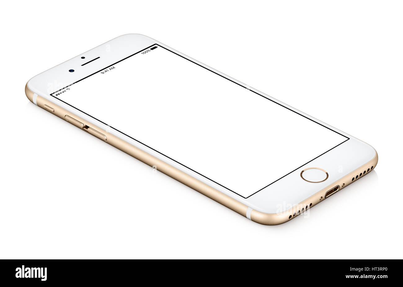Gold mobile Smartphone mock-up gegen den Uhrzeigersinn gedrehten liegt auf der Oberfläche mit unbelegten Schirm Stockbild