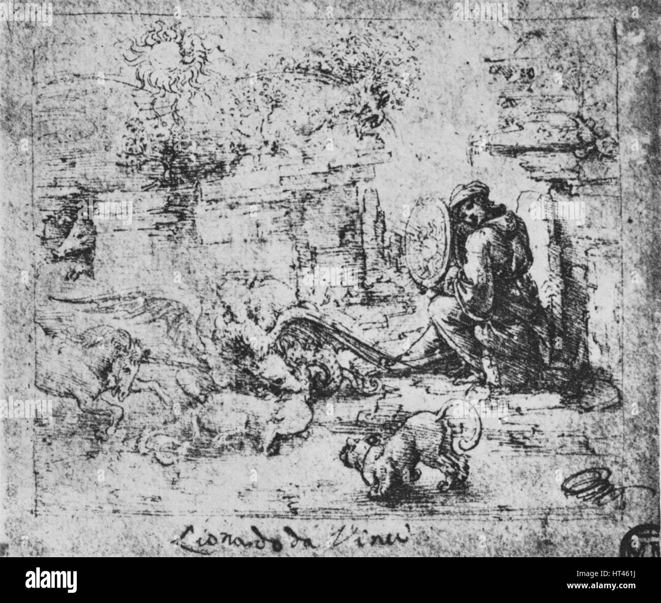 """""""Allegorie: Tiere kämpfen und ein Mann mit einem brennenden-Glas, c1480 (1945). Künstler: Leonardo Stockbild"""