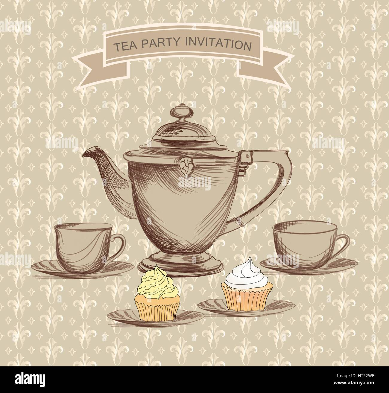 Tasse Tee, Topf, Wasserkocher retro Karte. Tea time Vintage label ...