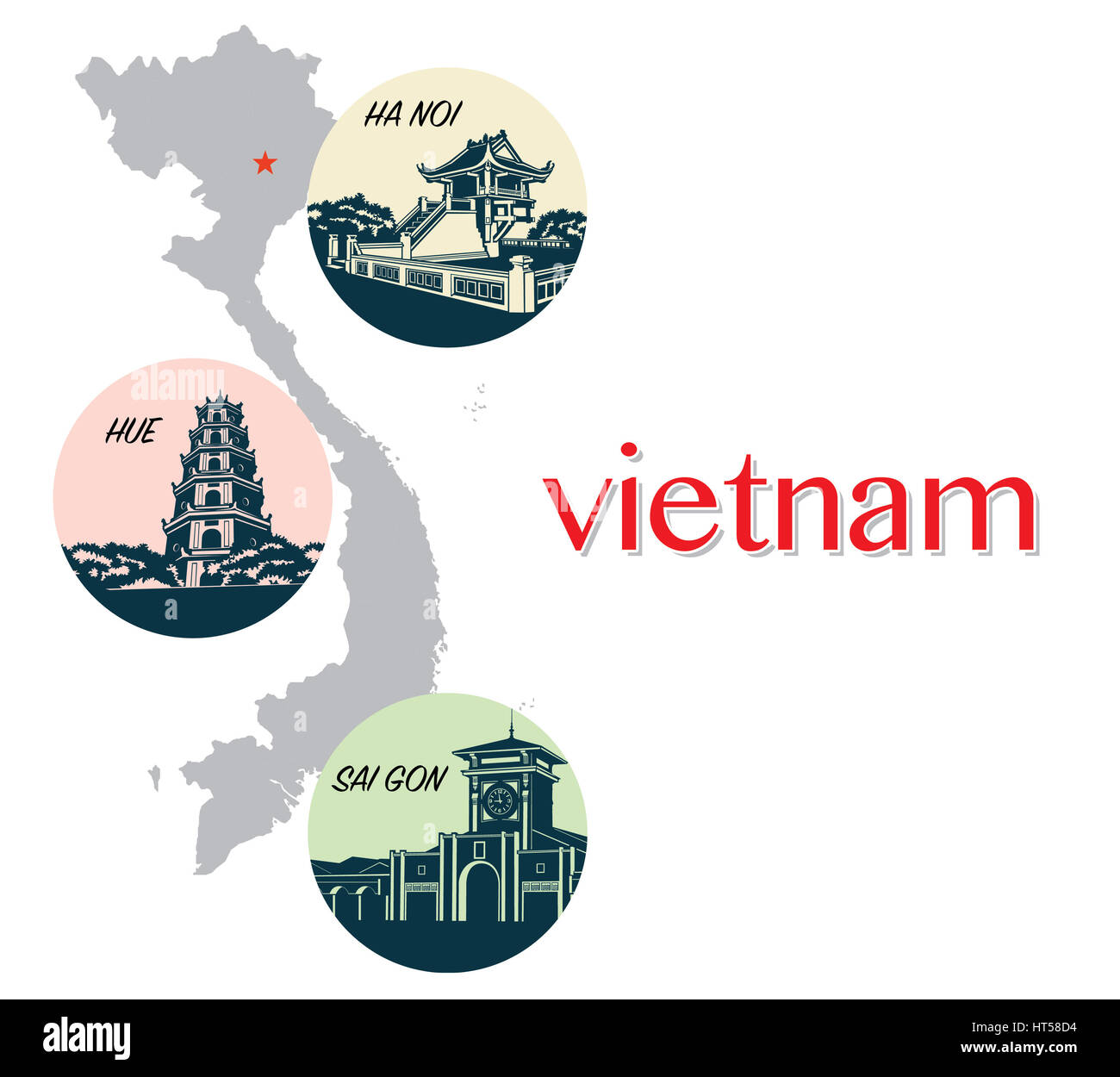 Vietnam symbolisierend, flache Bauform, Symbol Stockbild