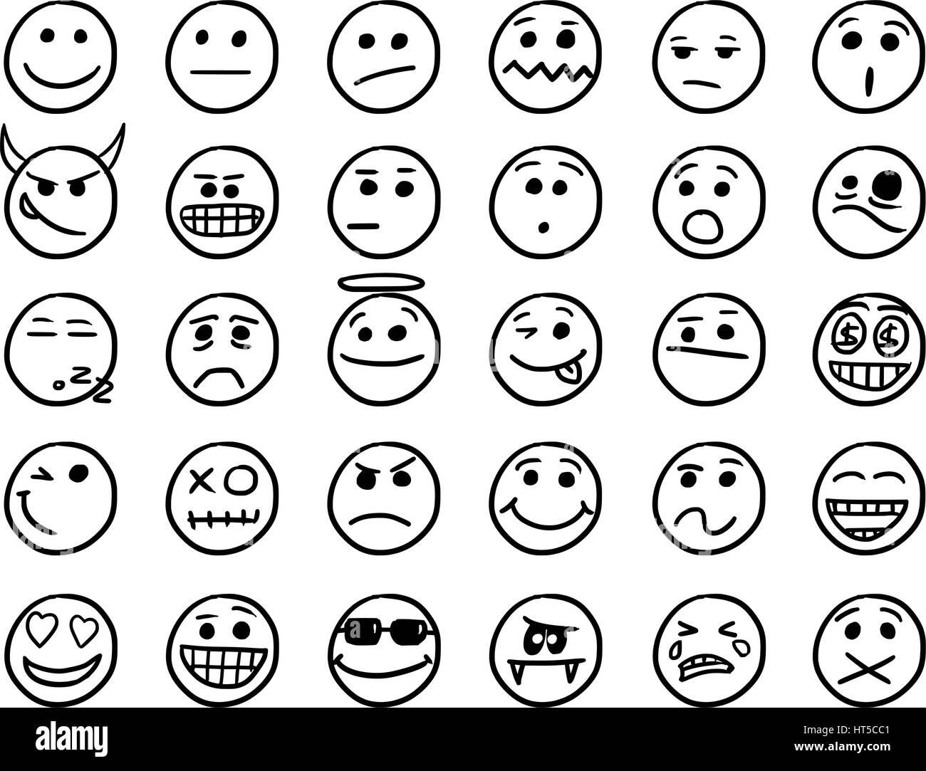 set01 smileysymbole zeichnungen doodles in schwarz