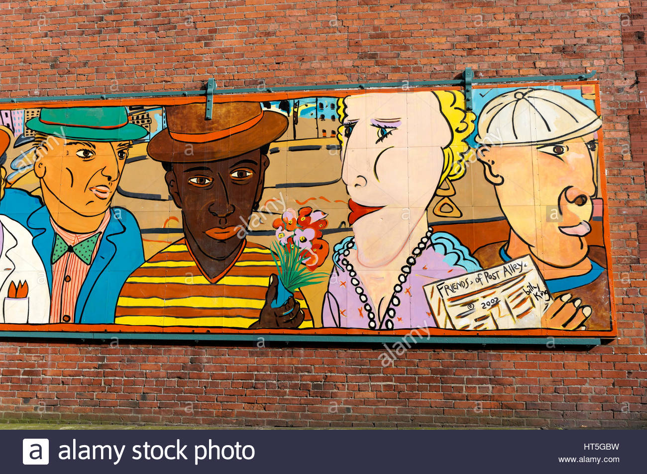 Straße Wandbild mit dem Titel Freunde Post Gasse im Stadtteil Pioneer Square, Seattle, Washington, USA Stockbild