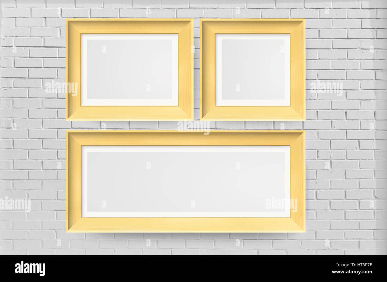 Bilderrahmen Auf Weiße Ziegel Wand   Innen, Innenraum, Wand   Gebäude