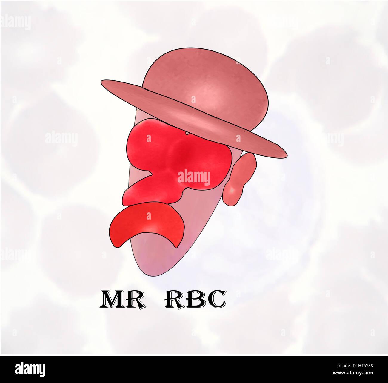 Herr RBC (Erythrozyten), die alle Teile der Abbildung aus den morphologischen Veränderungen der roten Blutkörperchen Stockbild