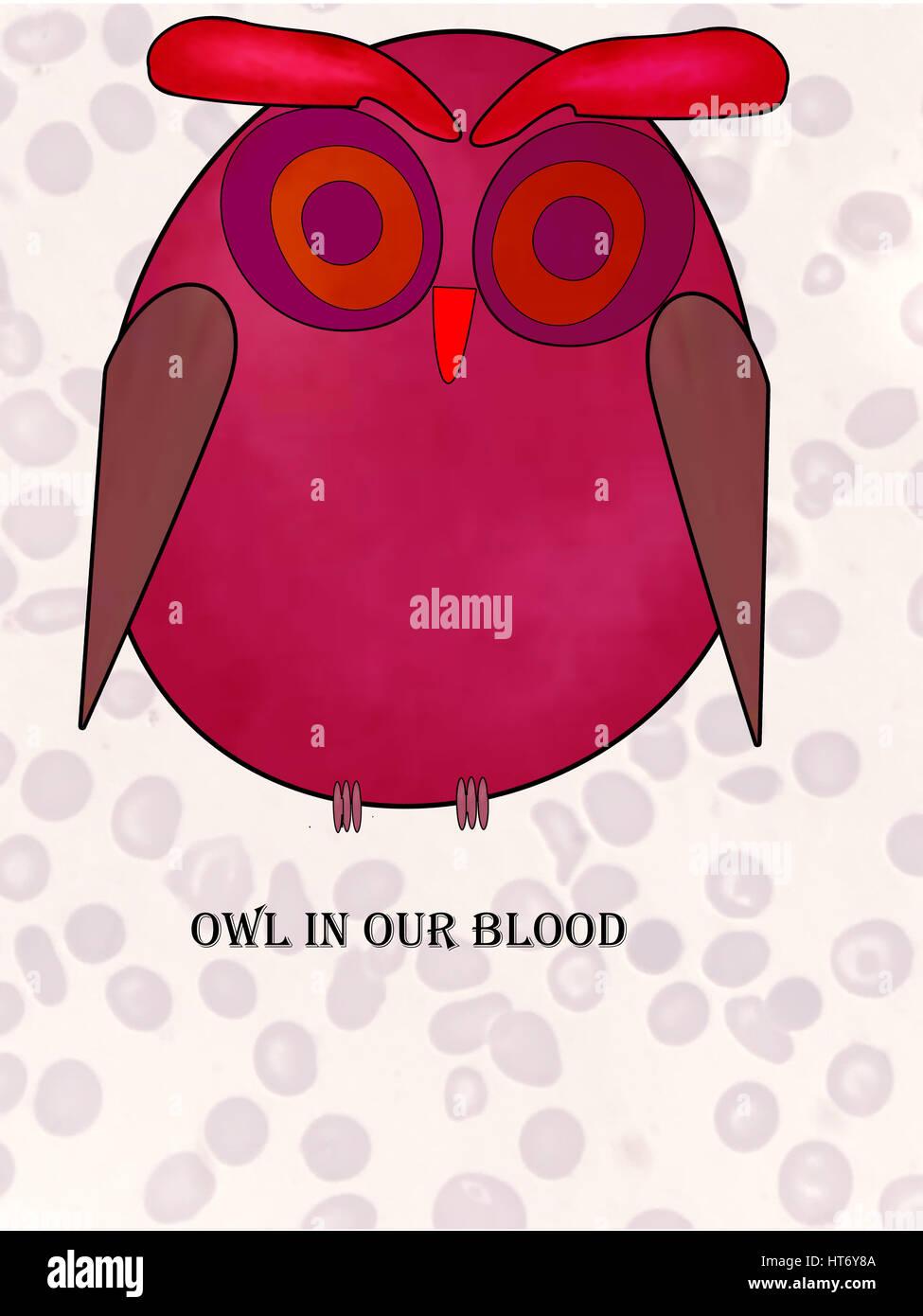 Eule IN unser Blut alle Teile dieser Abbildung sind inspiriert von morphologischen Varianten der roten Blutkörperchen Stockbild