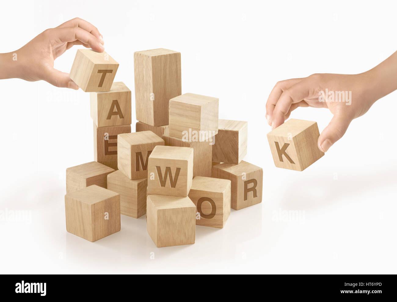 Teamarbeit & Zusammenarbeit Konzept auf isolierte Hintergrund. Stockbild