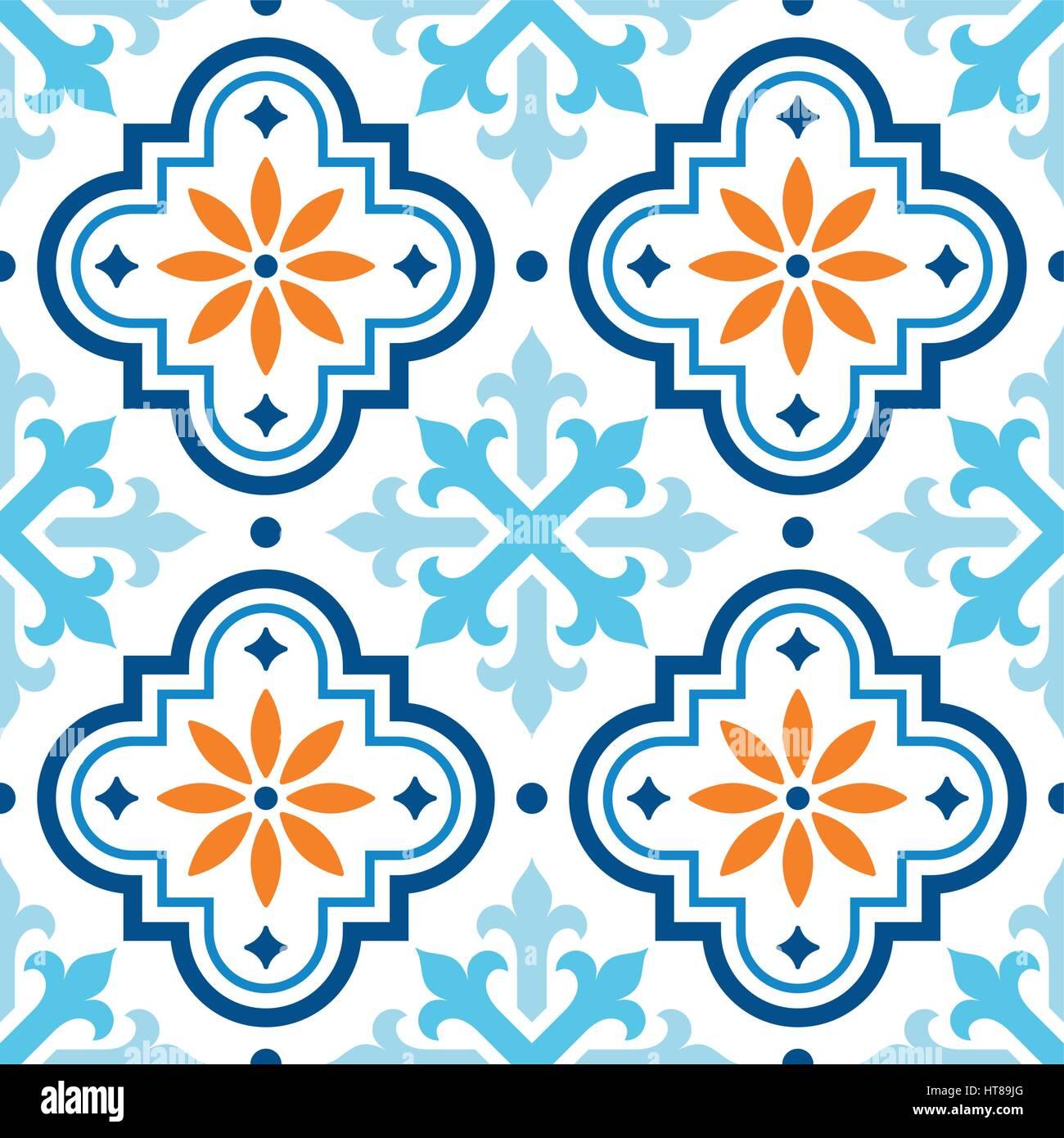 Spanische Fliese Muster, Marokkanischen Fliesen Design, Nahtlose Blauen Und  Orangefarbenen Hintergrund