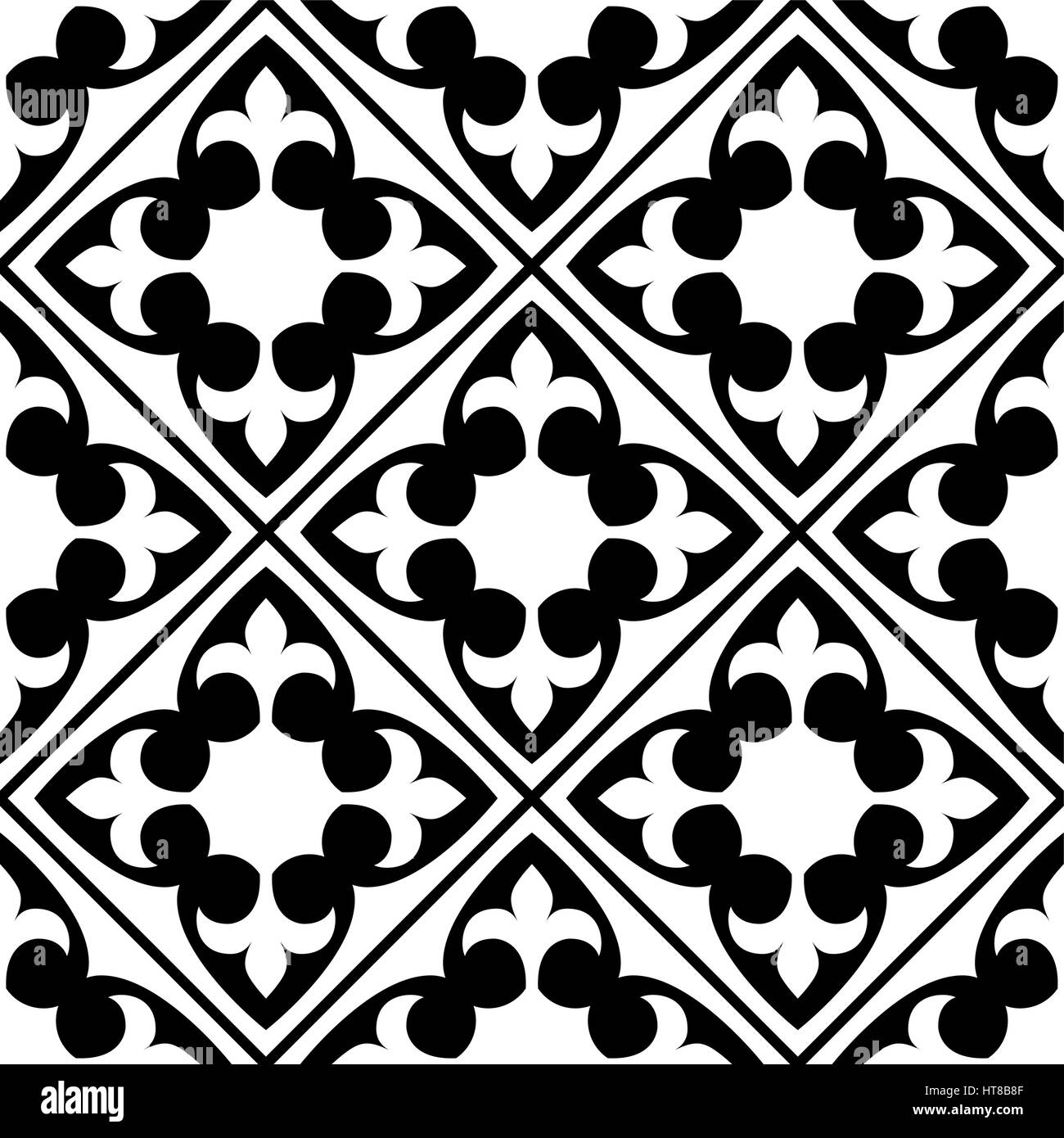 Charmant Spanische Und Portugiesische Fliesen Muster, Marokkanischen Fliesen Design,  Nahtlose Schwarz Weiß   Azulejo