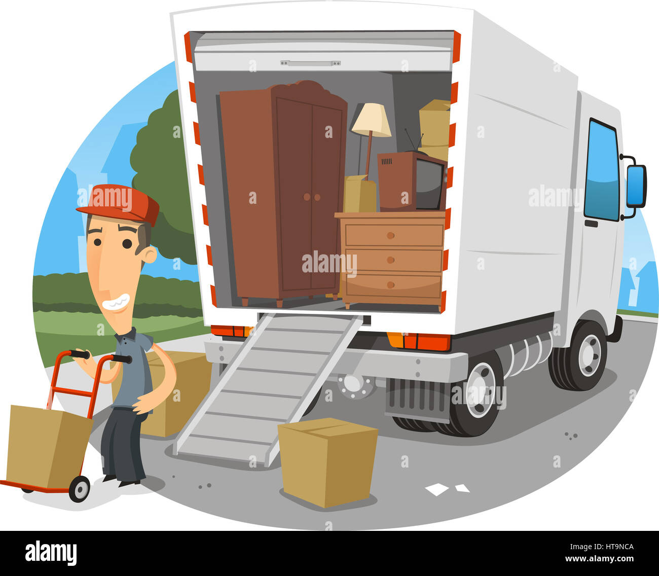 umzug lkw vektor cartoon illustration stockfoto bild 135438698 alamy. Black Bedroom Furniture Sets. Home Design Ideas