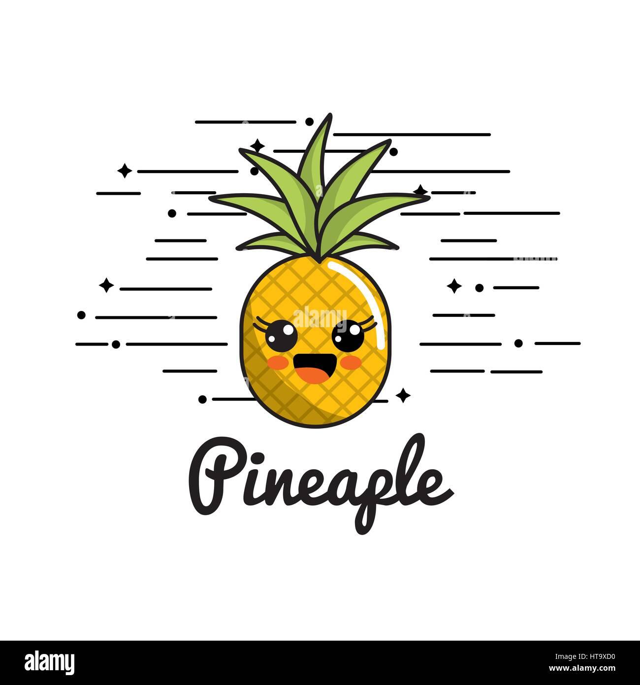 Emblem Kawaii glücklich Ananas Symbol Vektor Abbildung ...