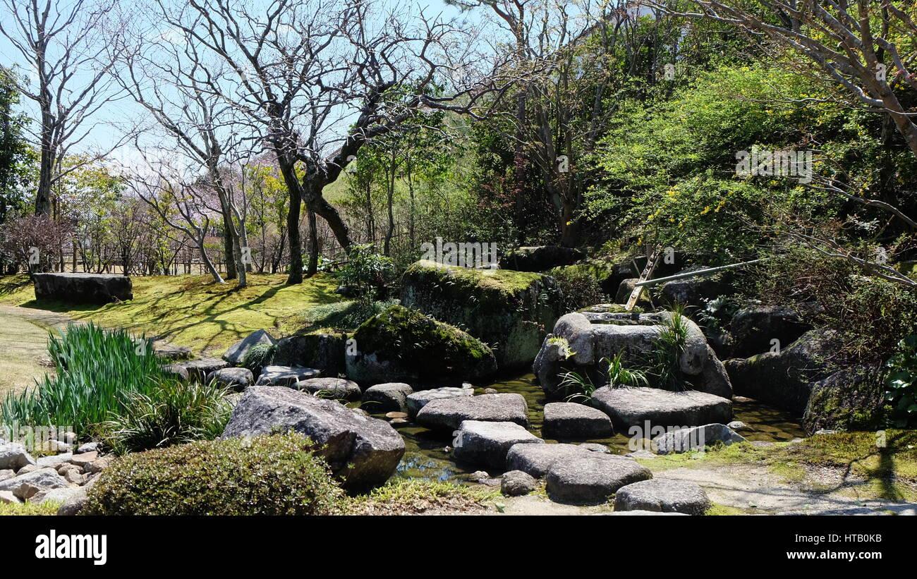 Traditionelle Japanische Garten Mit Einem Bambus Brunnen An Einem