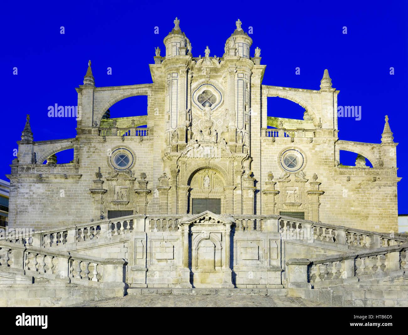Kathedrale von San Salvador bei Nacht, Jerez De La Frontera, Cadiz Provinz, Andalusien, Spanien, Europa Stockbild