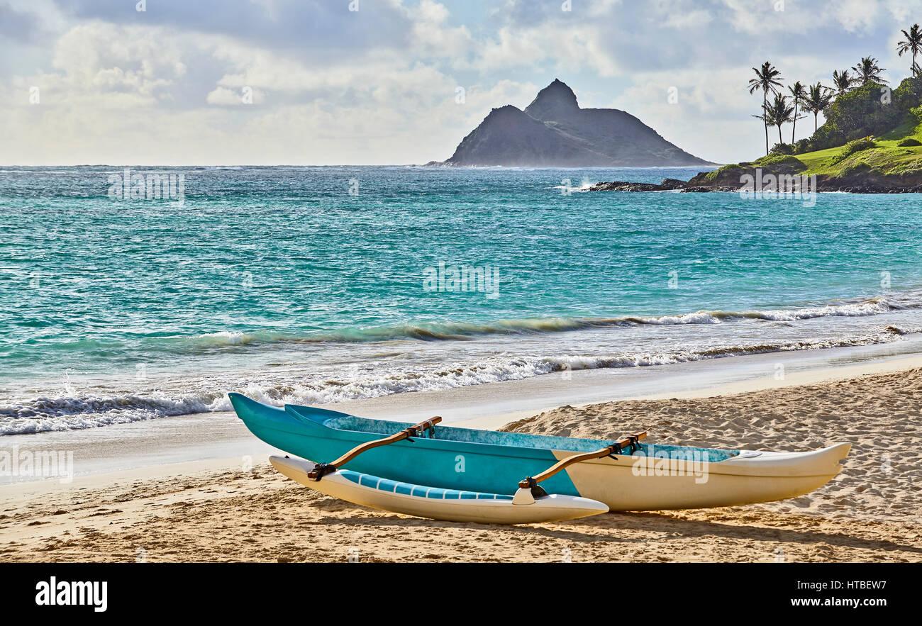ausleger kanu auf der tropischen insel strand und palmen b ume und k ste stockfoto bild. Black Bedroom Furniture Sets. Home Design Ideas