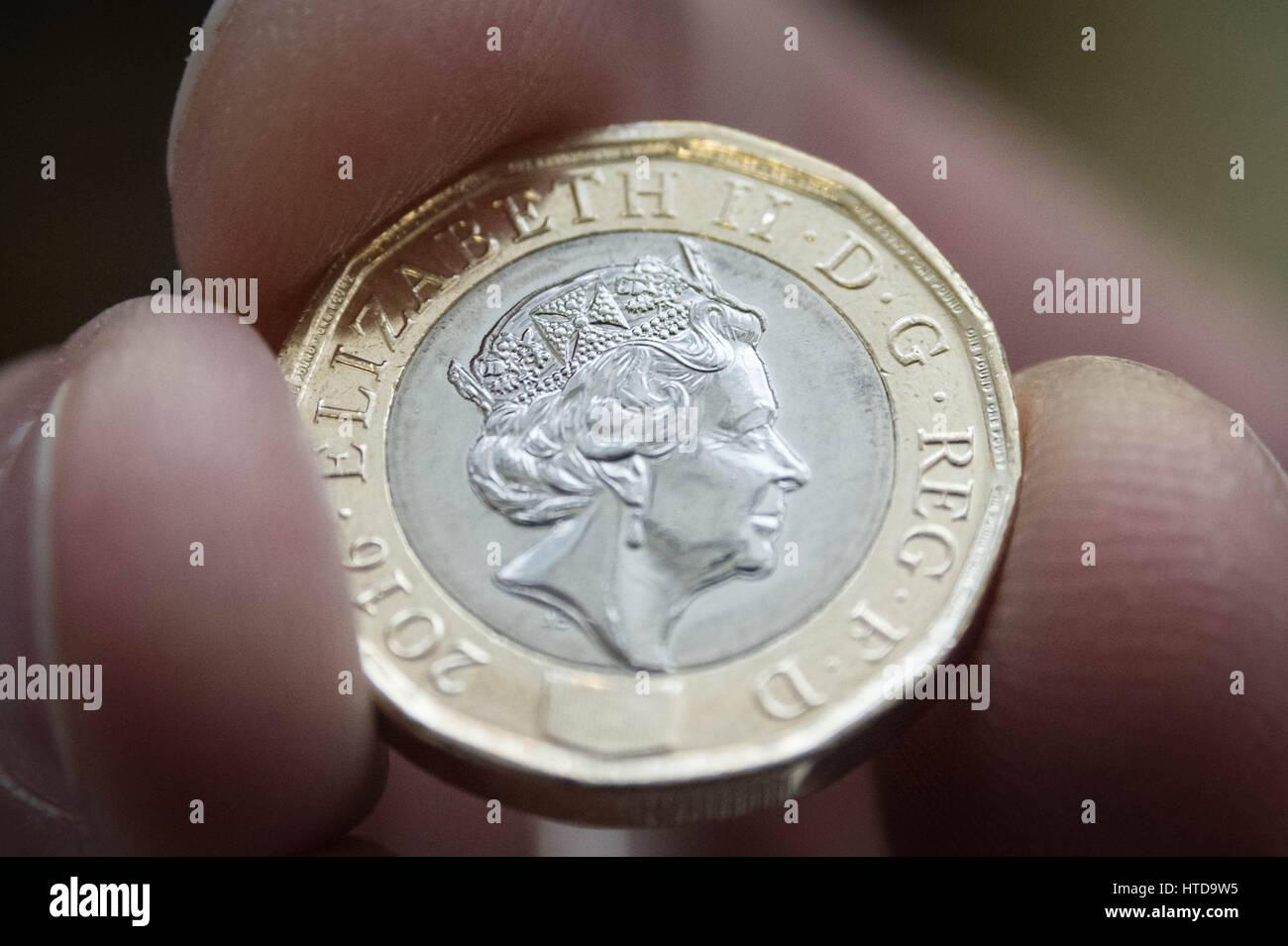 London Uk 9 März 2017 Neue 1 Pfund Münzen In London Assay Office