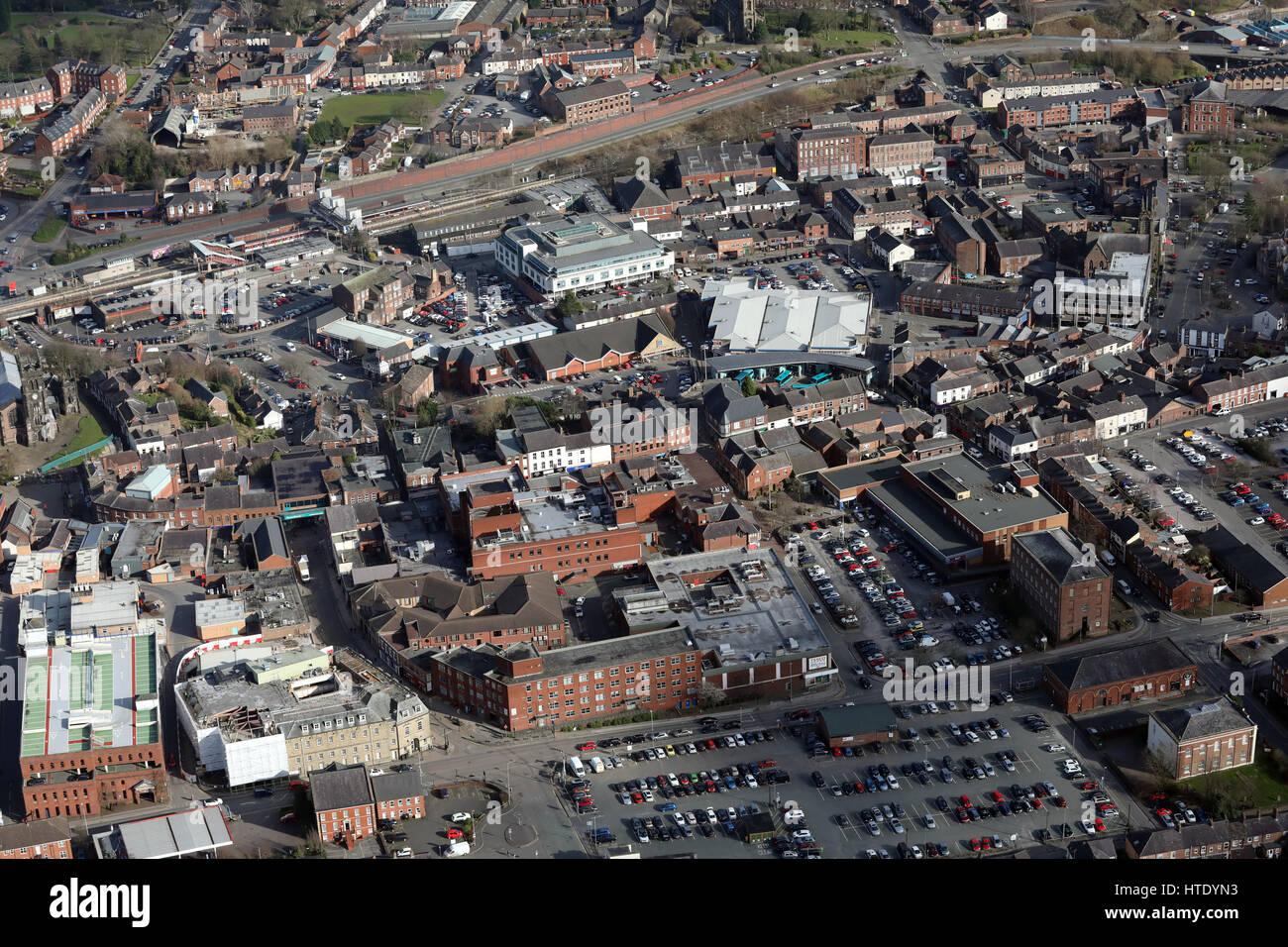 Luftaufnahme des Stadtzentrums Macclesfield, Cheshire, UK Stockbild
