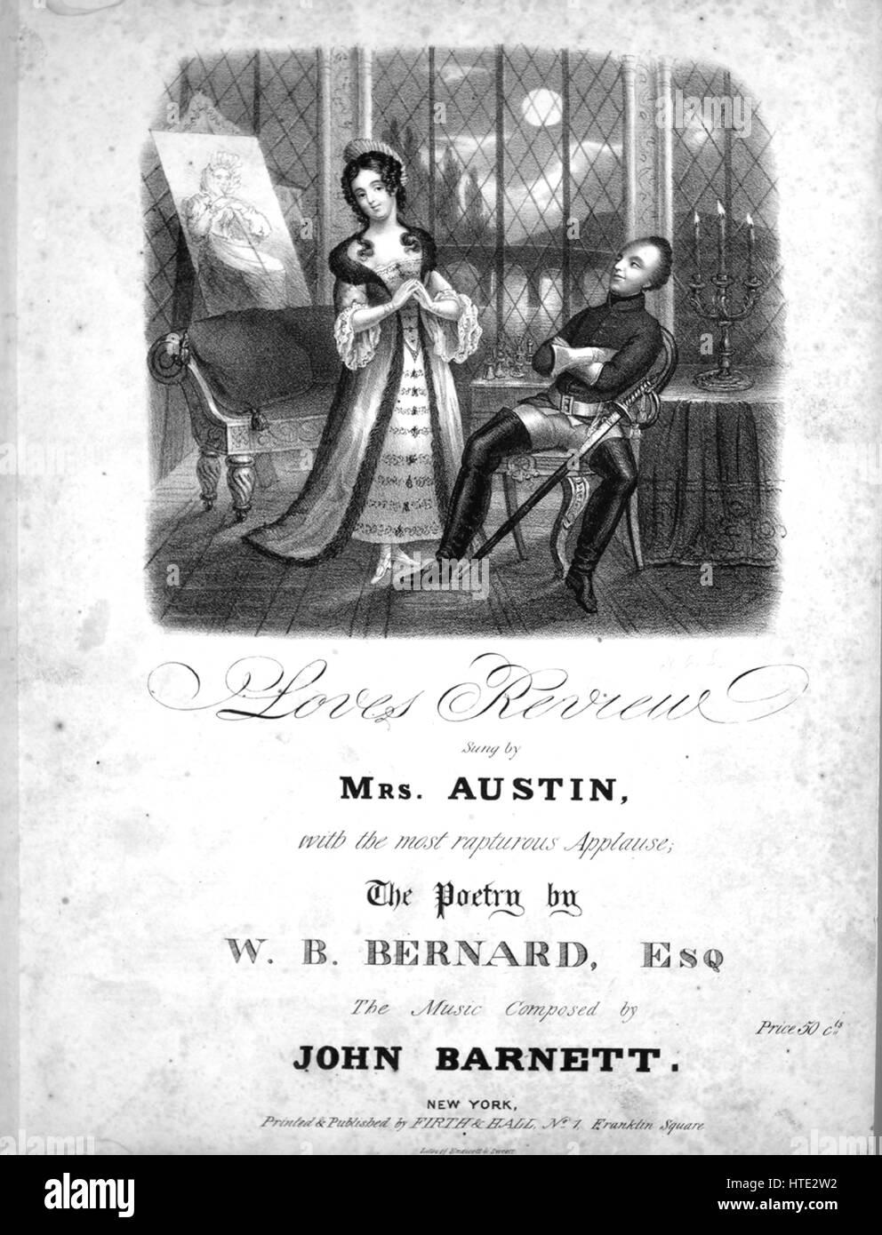 Noten Cover Bild Des Liedes Liebt Review Mit Ursprunglichen Autorschaft Notizen Lesen The Poetry Von WB Bernard Esq Die Musik Komponiert John